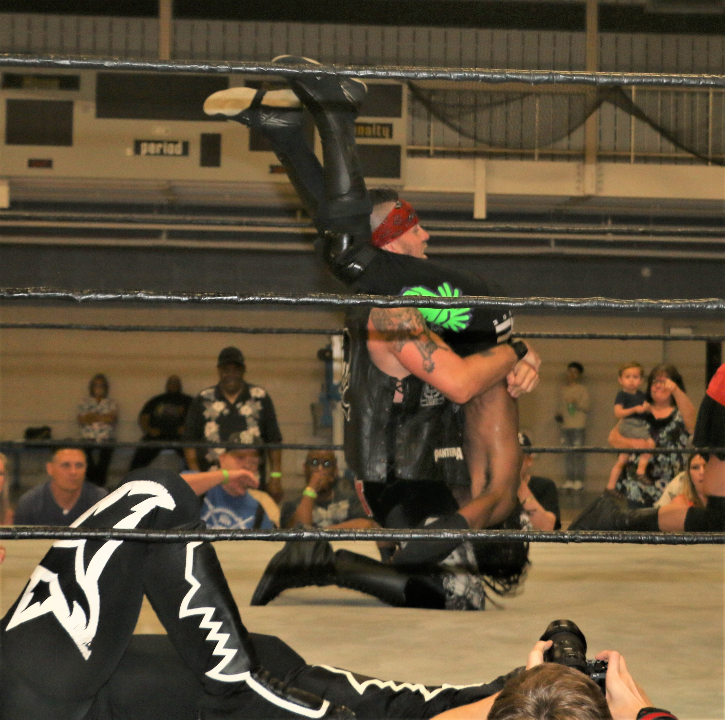 Ruff Crossing tombstone piledrives TW3 leading to his elimination.