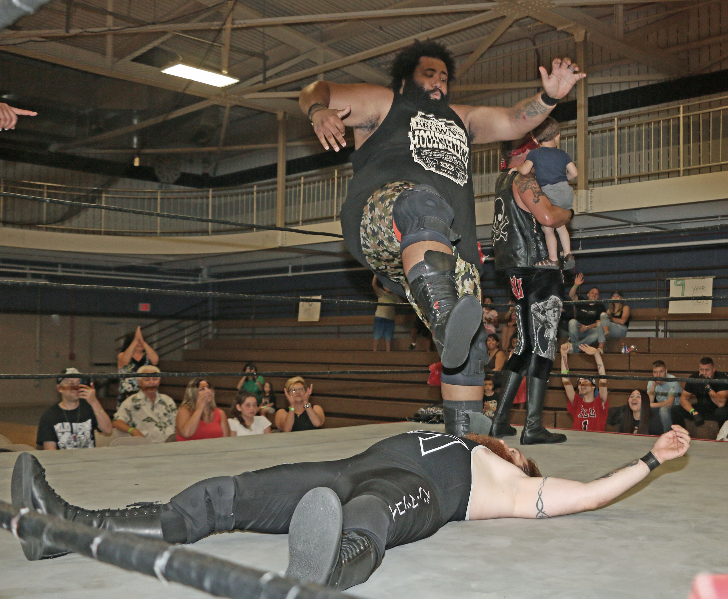 Backwoods Brown drops the leg on Ben McCoy after the the 10-man elimination tag-team match was concluded.