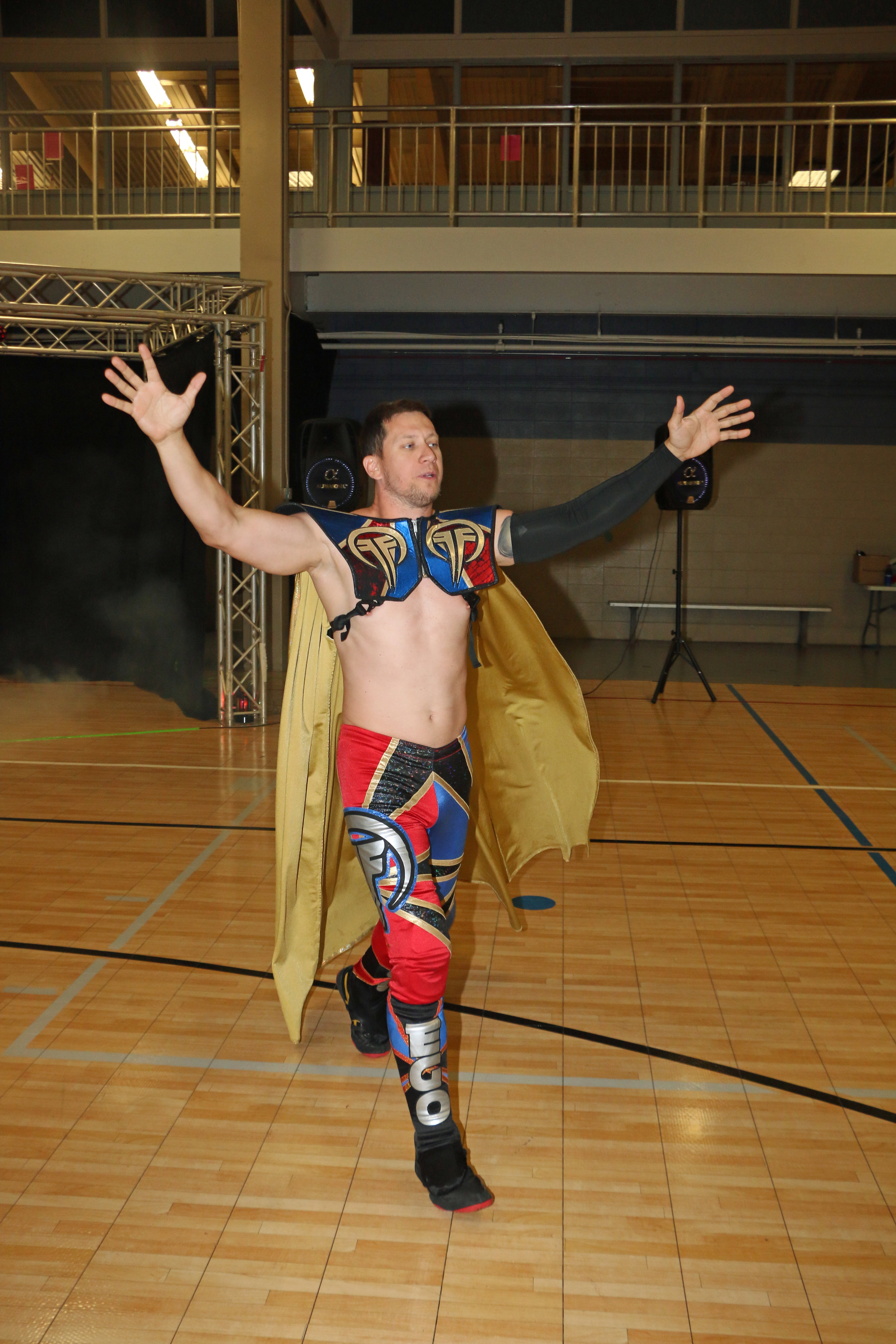 """Robert """"Ego"""" Anthony comes out the ring for his main-event match against Joe Alonzo."""