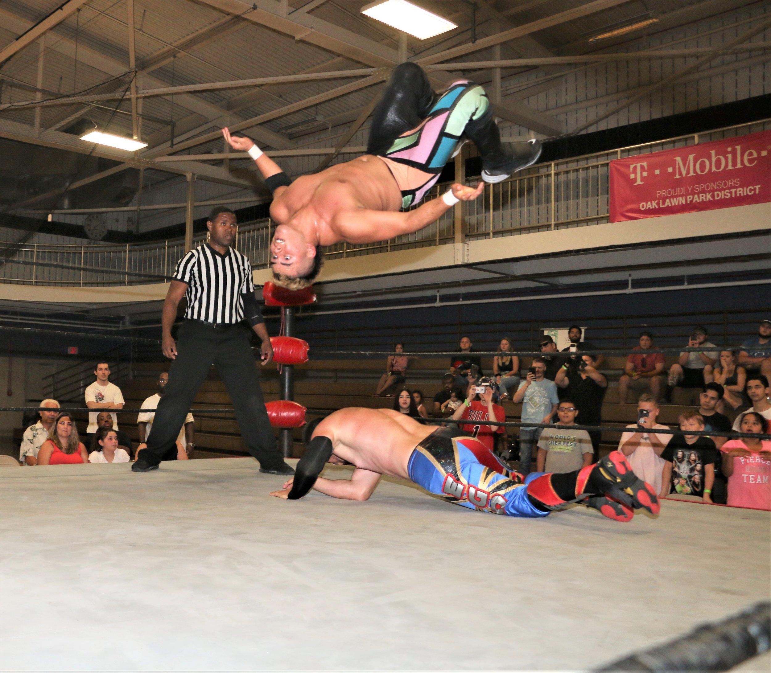 Joe Alonzo flips through the air.