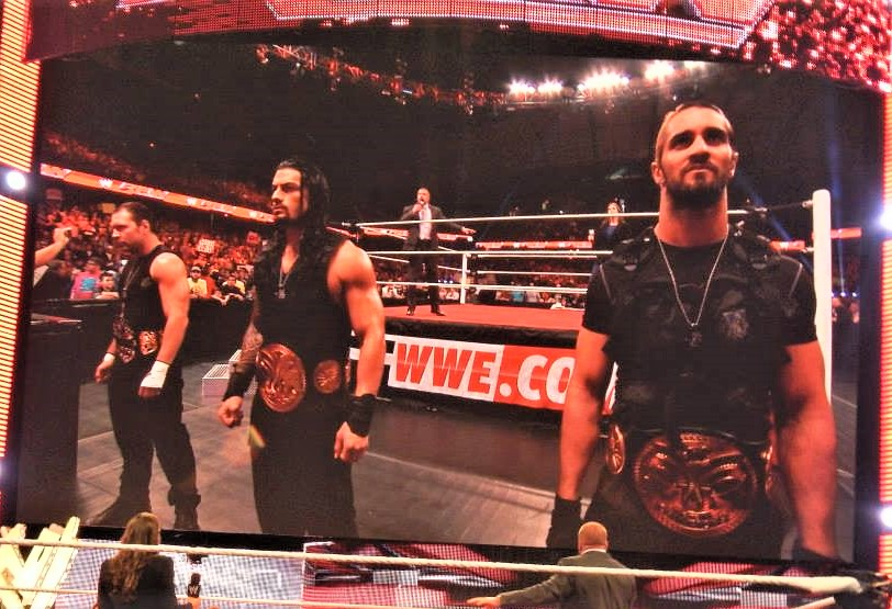 Former Shield members Dean Ambrose, from left, Roman Reigns and Seth Rollins stood united back in September 2013, but now are traveling different paths.  (Photo by Mike Pankow)