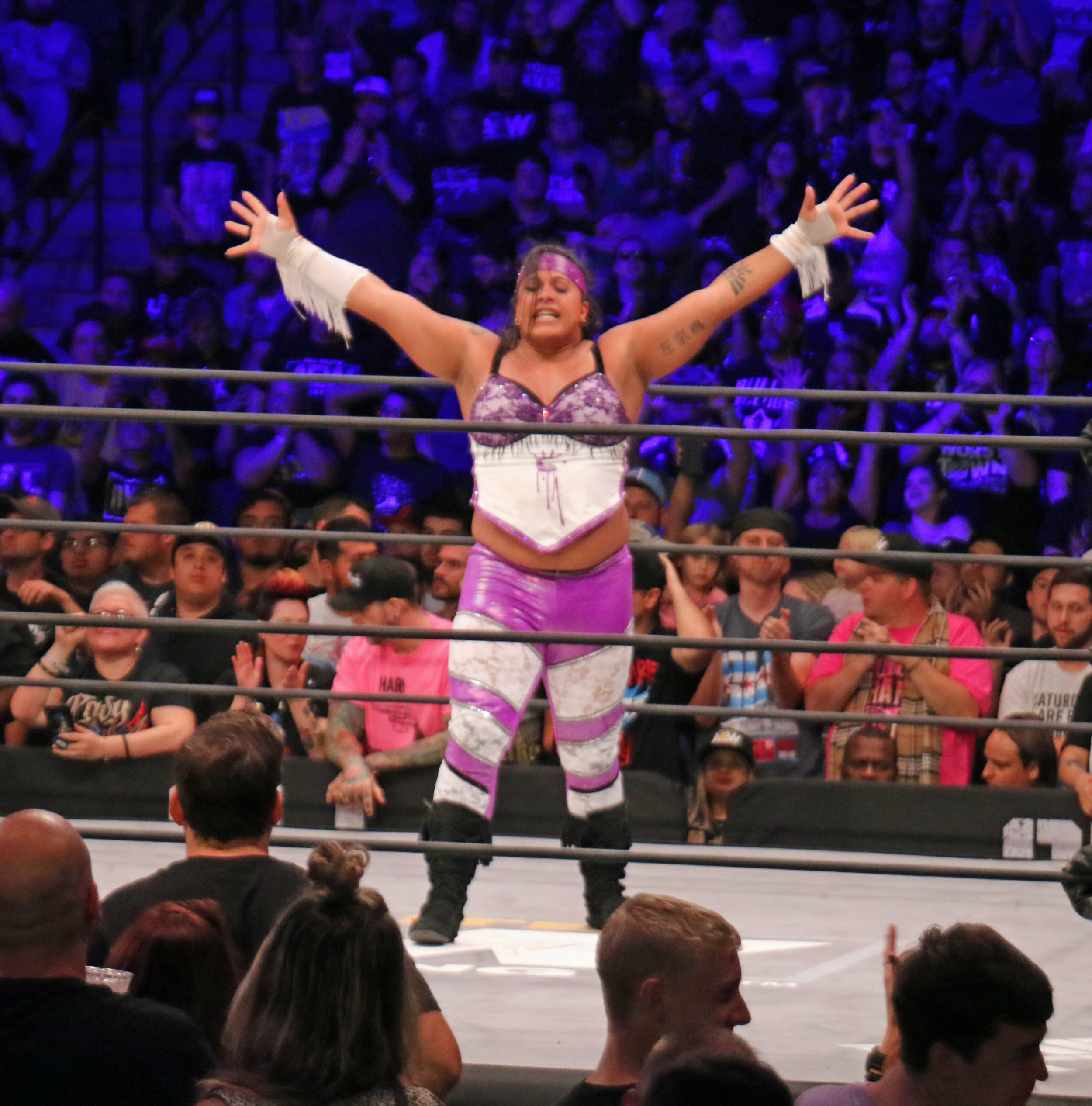 """Nyla Rose celebrates her victory in the Women's Casino Battle Royale on the """"Buy In"""" kickoff show. She will face Riho for the AEW Women's Championship on Oct. 2  (Photo by Mike Pankow)"""