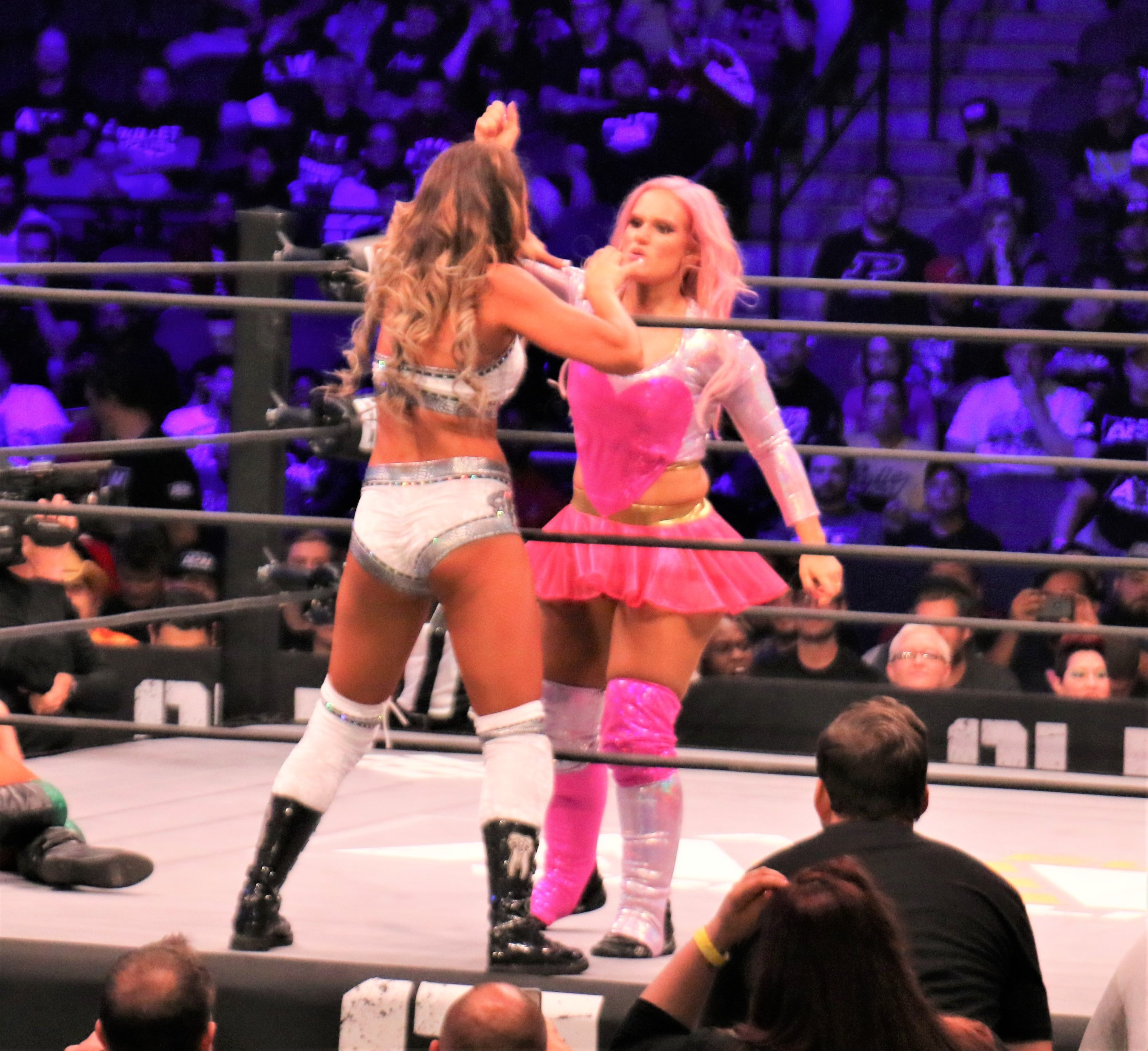 Britt Baker and Shazza McKenzie battle during the Casino Battle Royale.