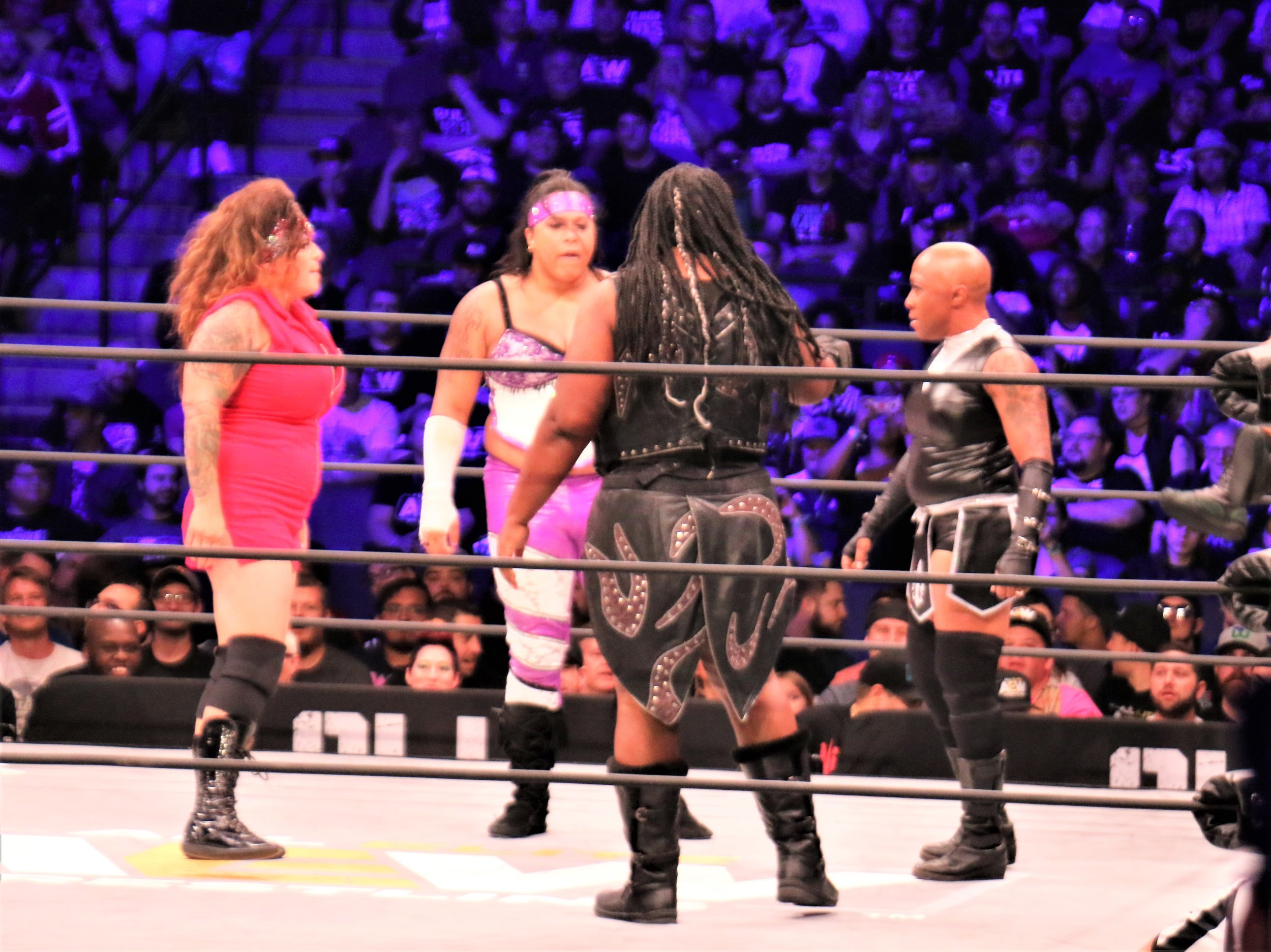 Four-woman face-off with ODB, from left, Nyla Rose, Awesome Kong and Jazz during the Casino Battle Royale.