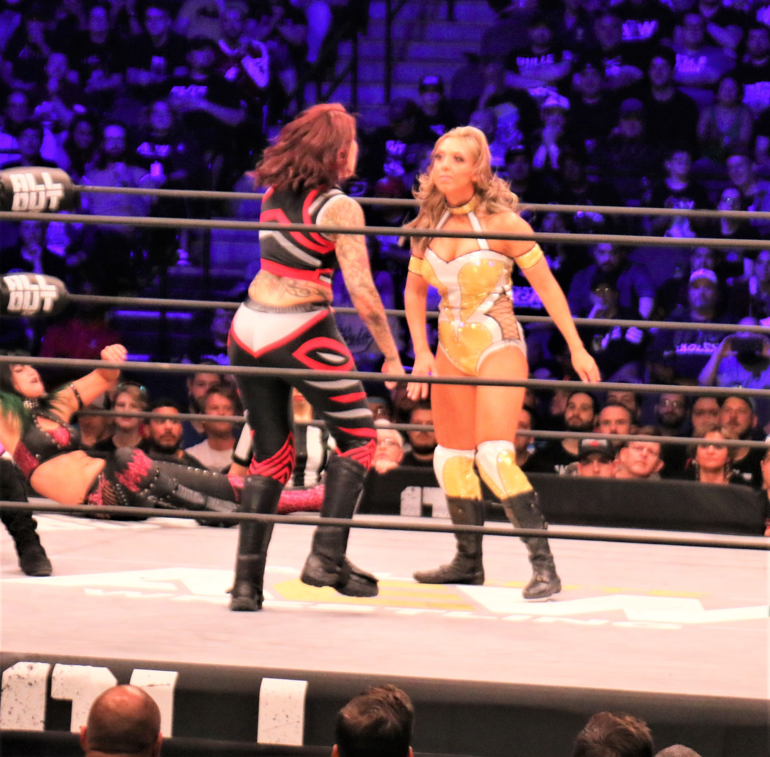 Mercedes Martinez faces off with Allie during the Casino Battle Royale.