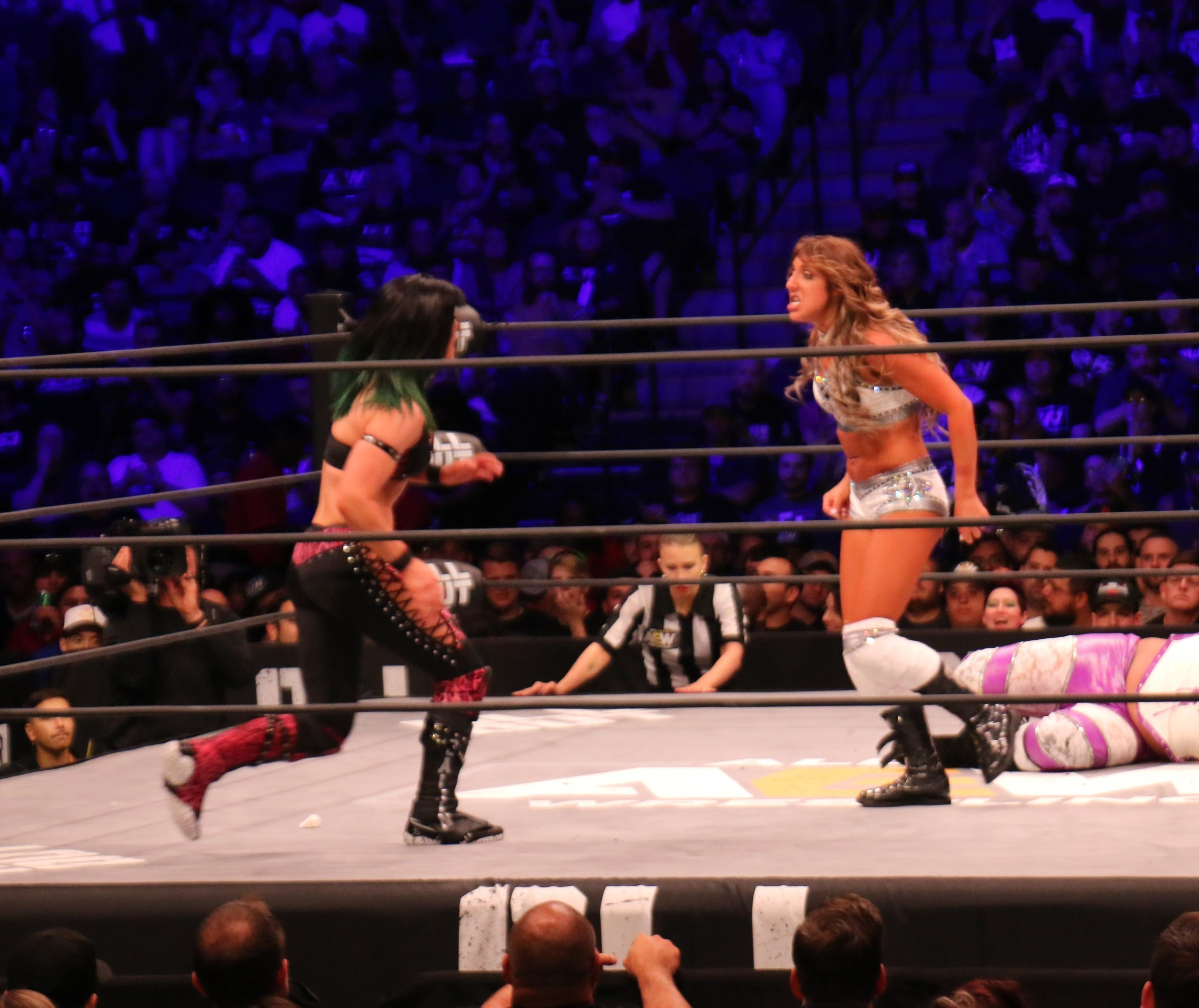 Bea Priestly, left, and Britt Baker face off during the Casino Battle Royale.