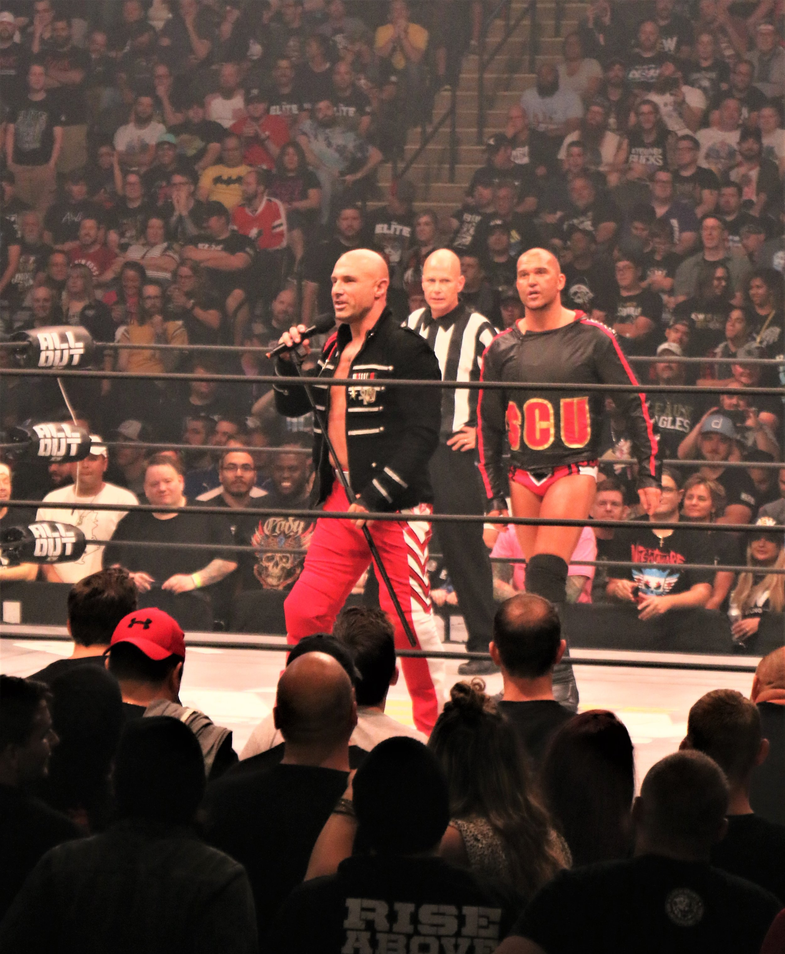 Christopher Daniels, left, and Frankie Kazarian of SCU before the six-man tag team match.
