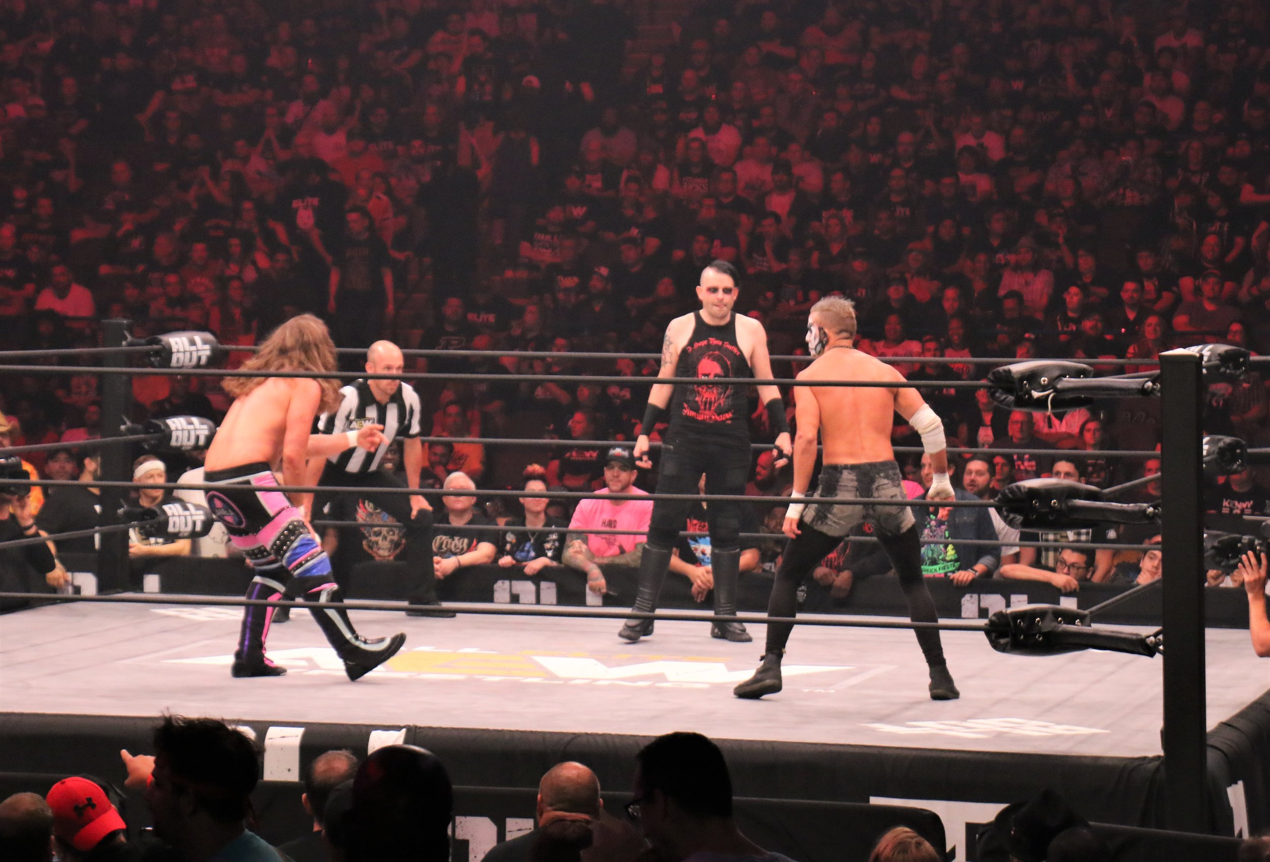 "The three-way faceoff between Joey Janela, left, Jimmy Havoc and Darby Allin in the ""Cracker Barrel Clash."""