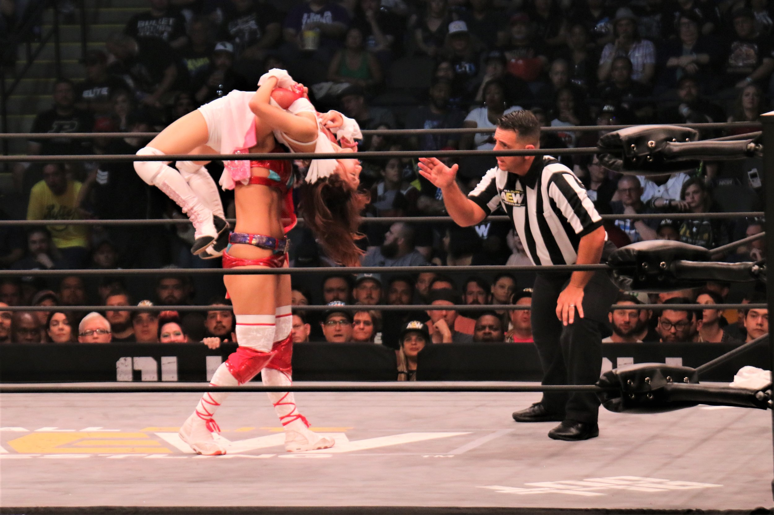 Hikaru Shida puts Riho in a backbreaker submission.