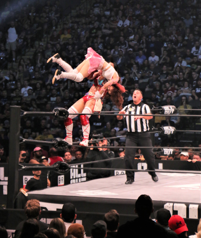 Hikaru Shida superplexes Hikaru Shida from the top rope.