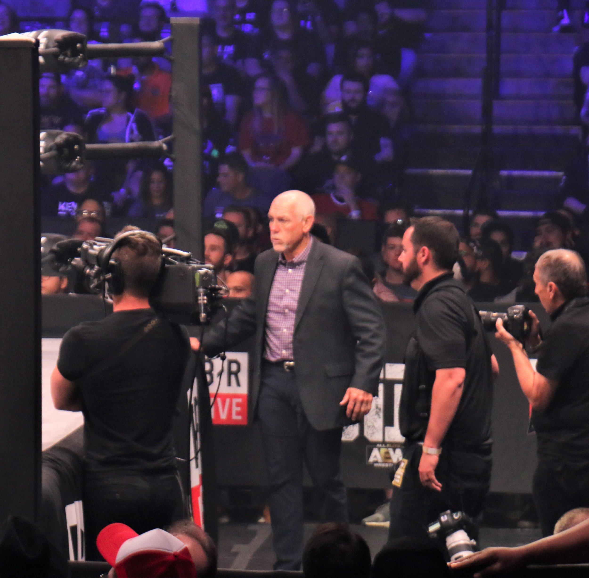Tully Blanchard, seconding Shawn Spears, outside the ring.