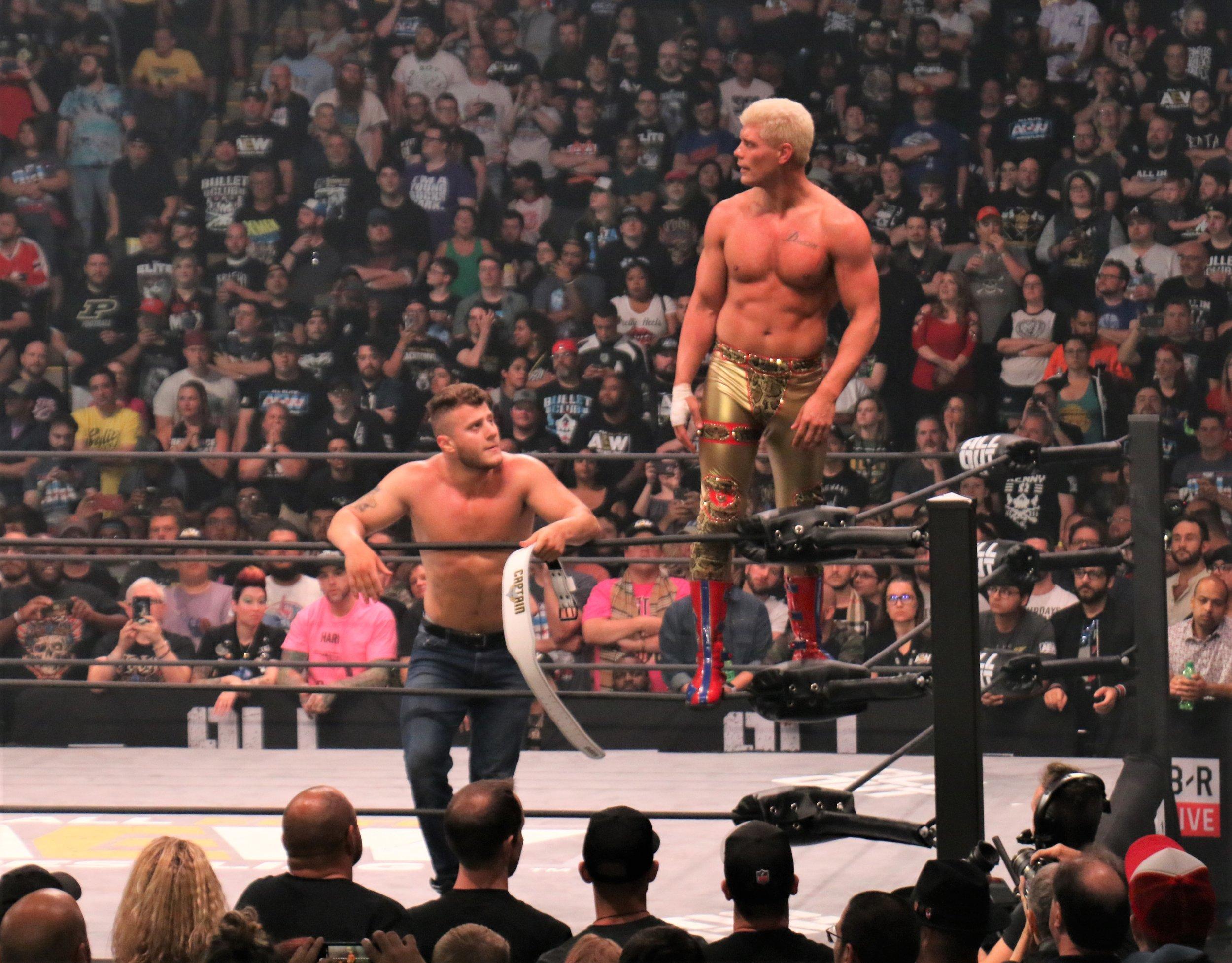 Cody, right, and MJF celebrate.