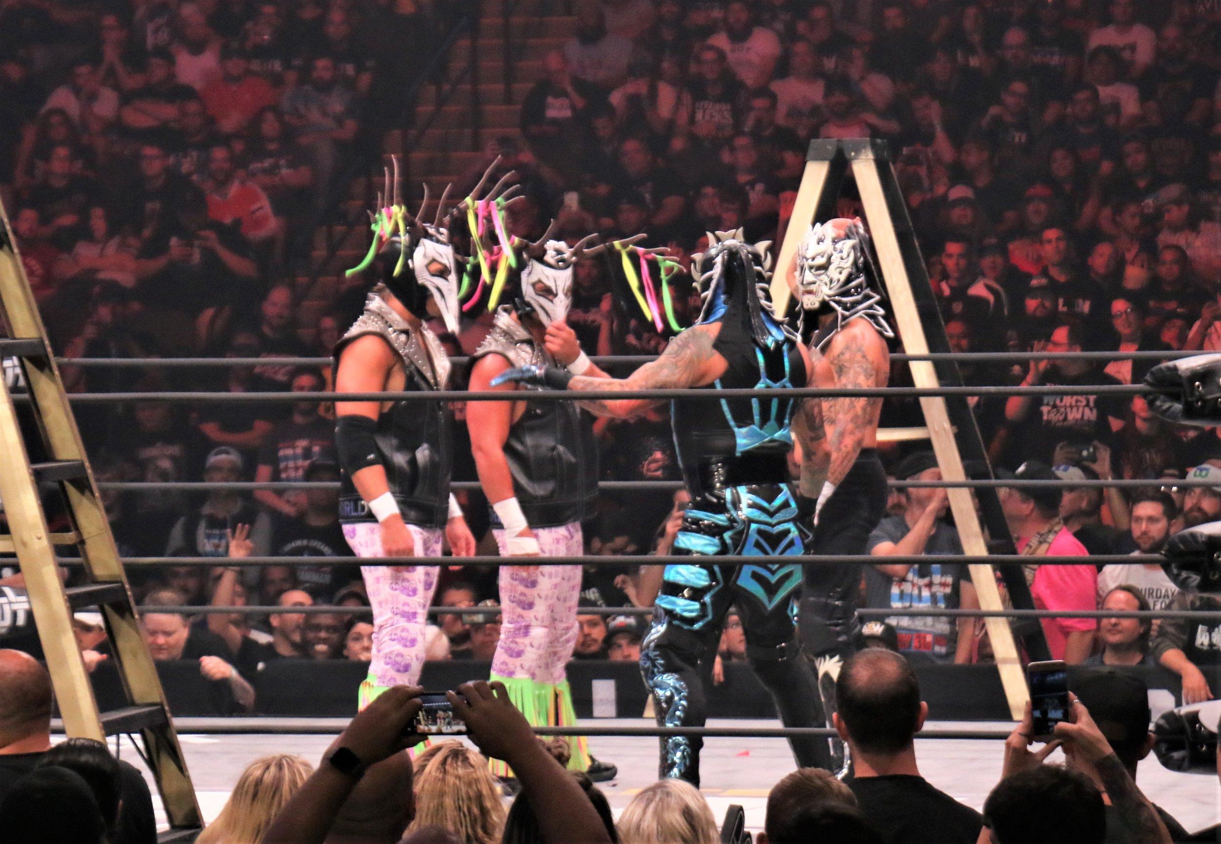 "The faceoff before the ""Escalera de la Muerte"" ladder match."
