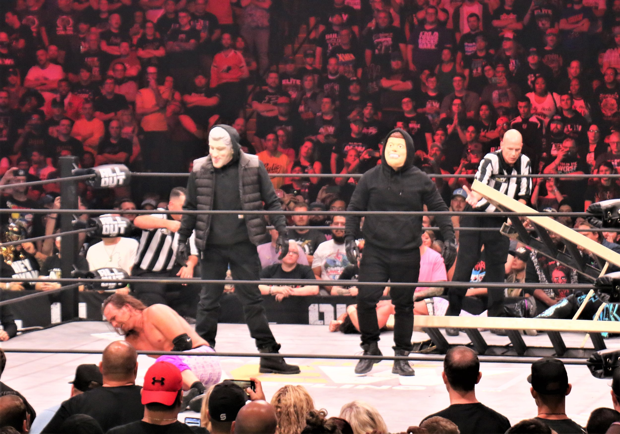 The Masked Men took down both teams after the match.