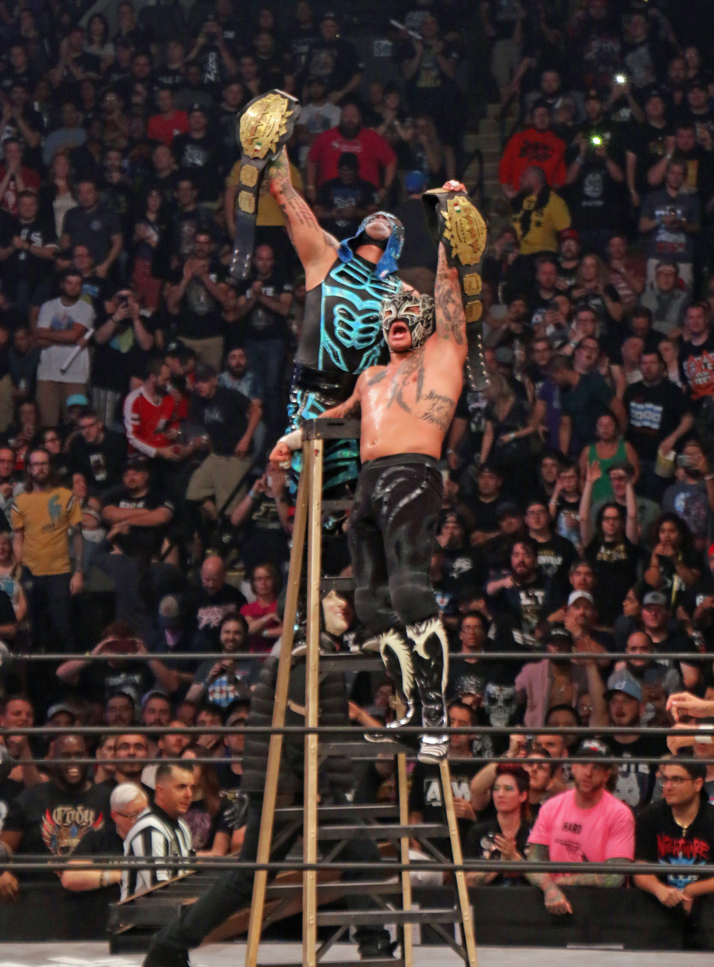 "The Lucha Bros. win the ""Escalera de la Muerte"" ladder match and retaun the AAA Tag Team Championships."