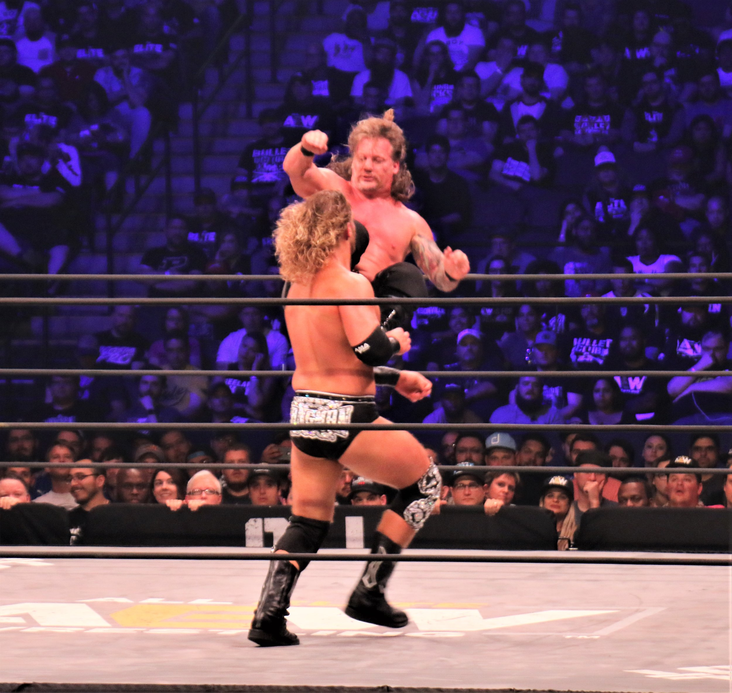 Chris Jericho dropkicks Hangman Page.