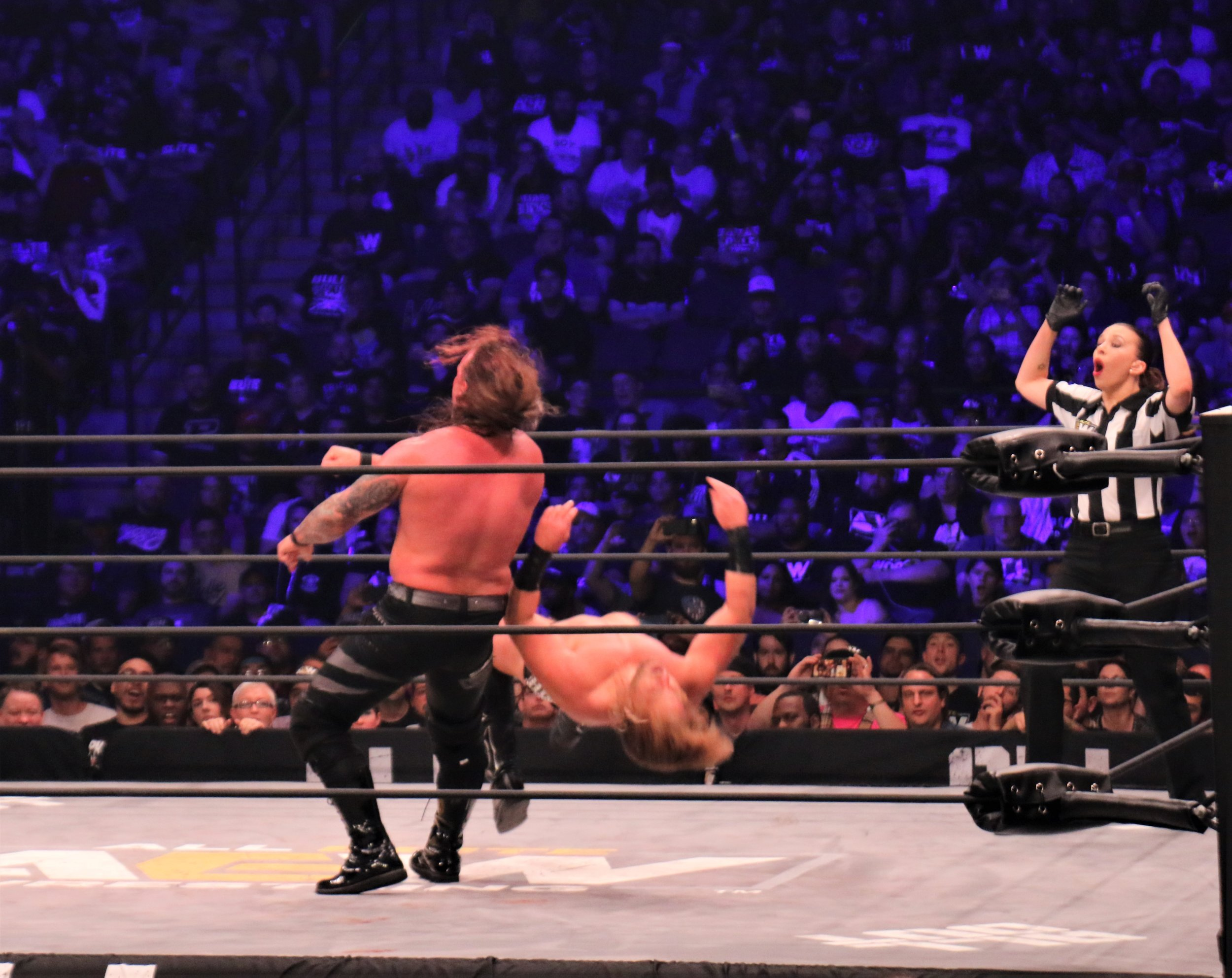 Chris Jericho floors Hangman Page with the Judas Effect, leading to the victory and winning the AEW Championship.