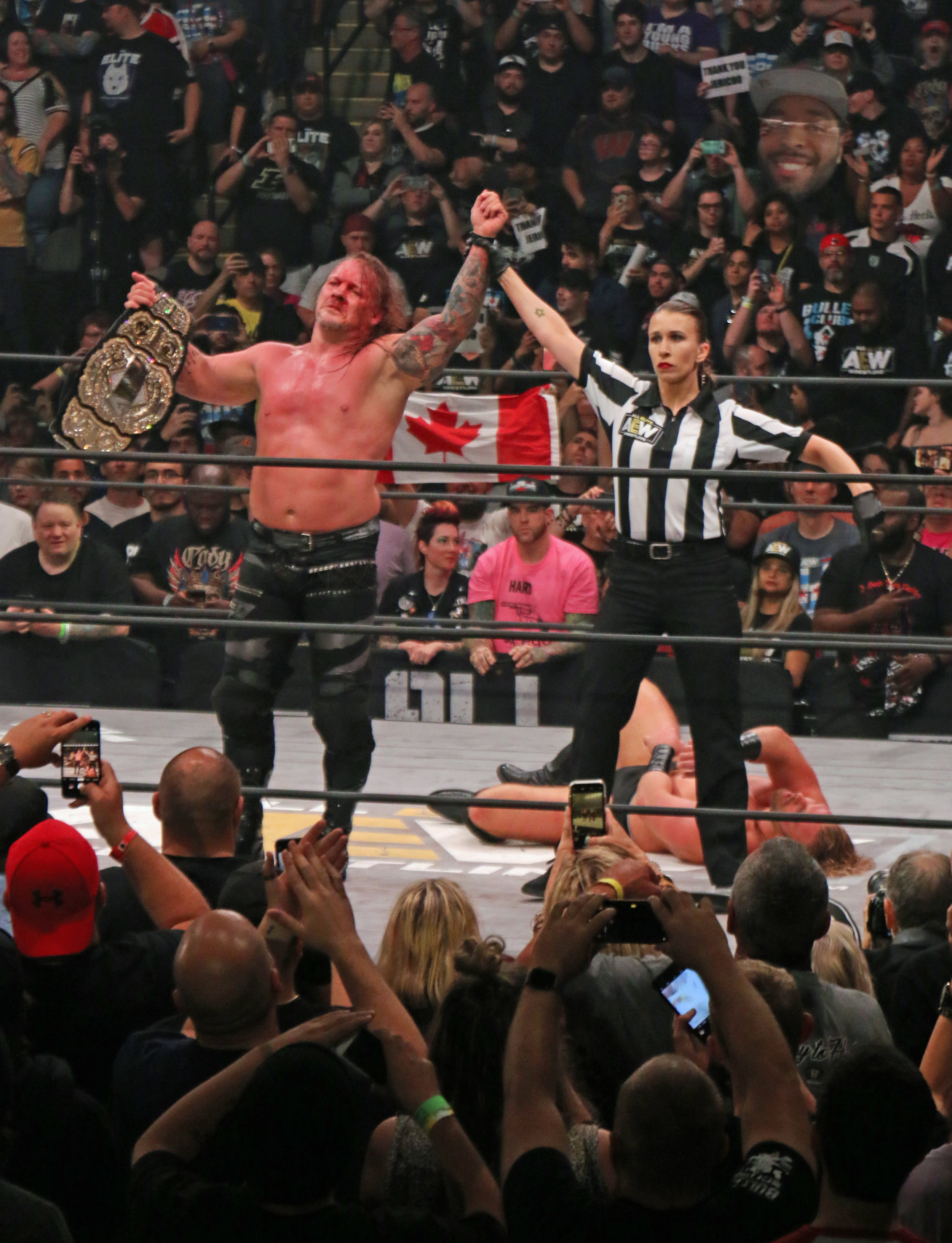Referee Aubrey Edwards raises the hand of Chris Jericho, the first-ever AEW Champion.