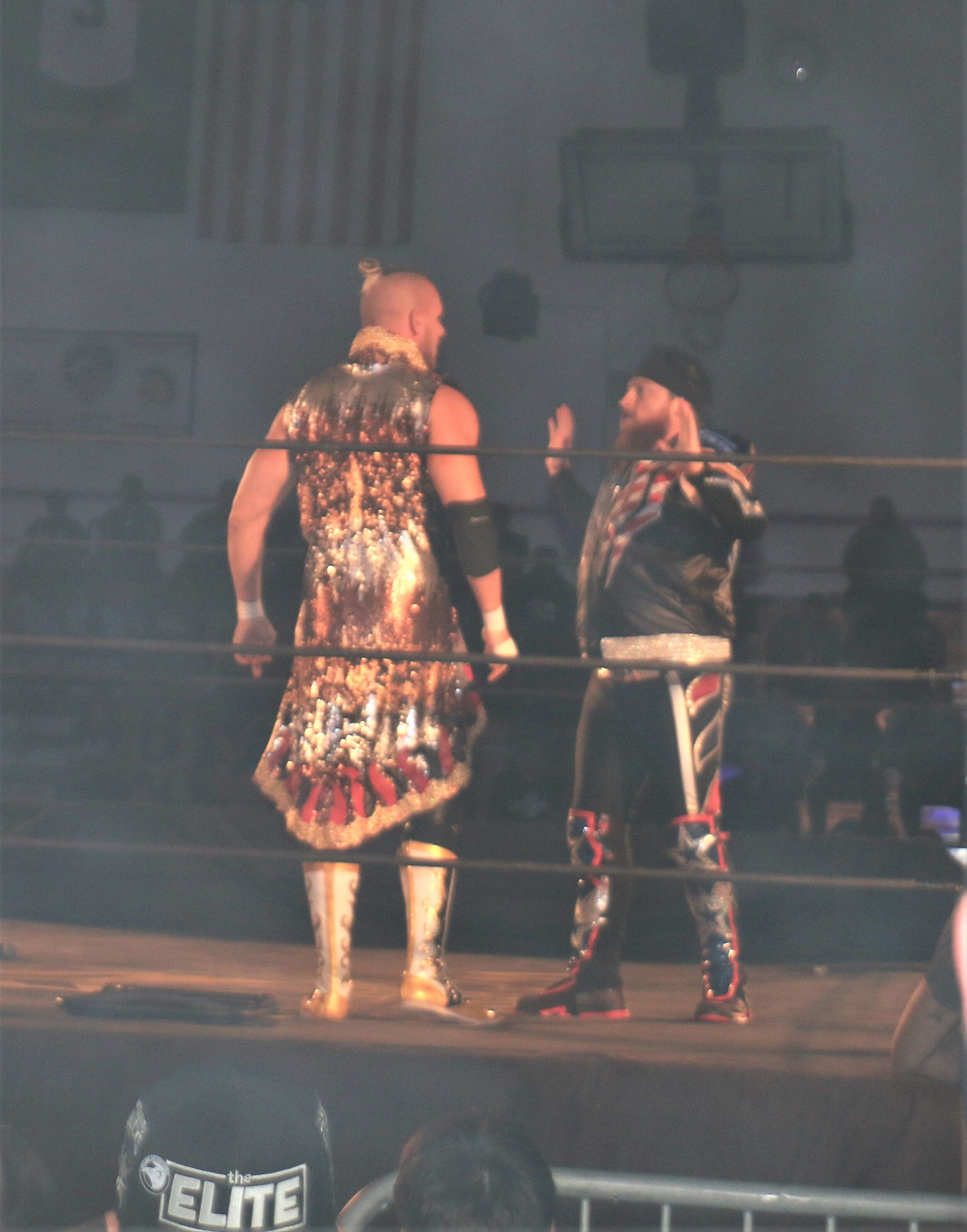 Sam Adonis, left, stops Gringo Loco's attack on the luchadors, or so we thought!