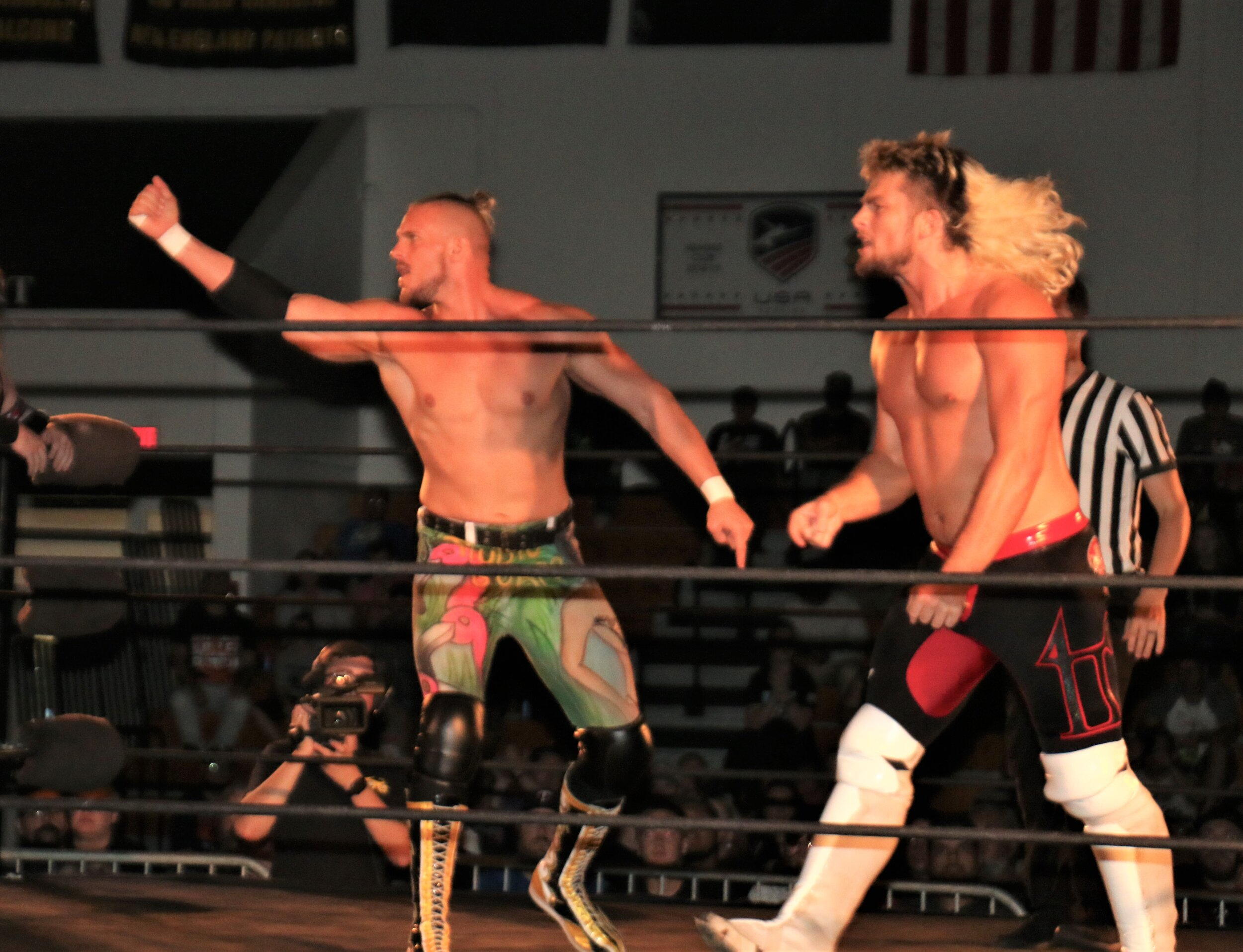 Sam Adonis, left, and Brian Pillman Jr., get ready to square off.