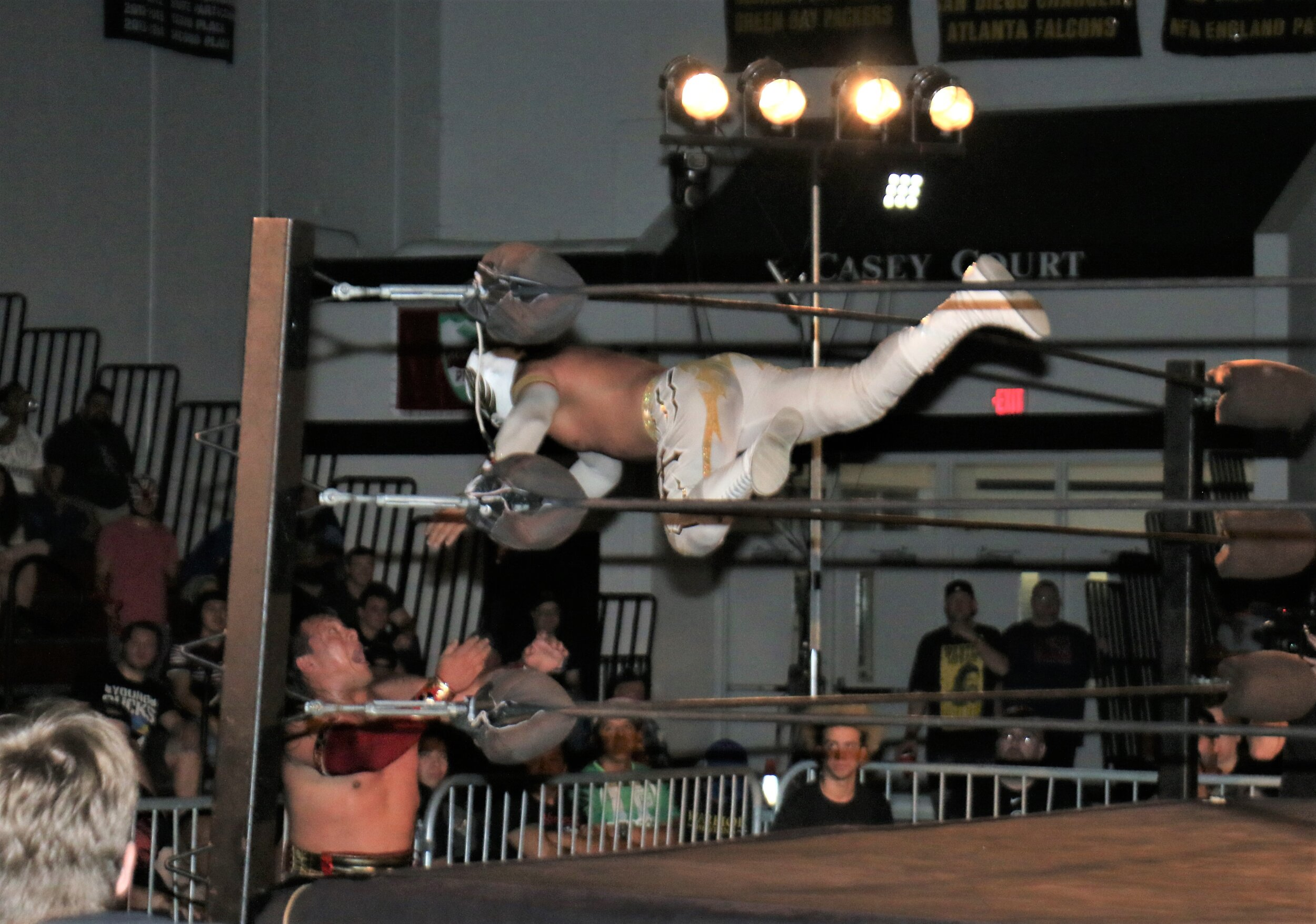 Caristico takes another dive out of the ring.