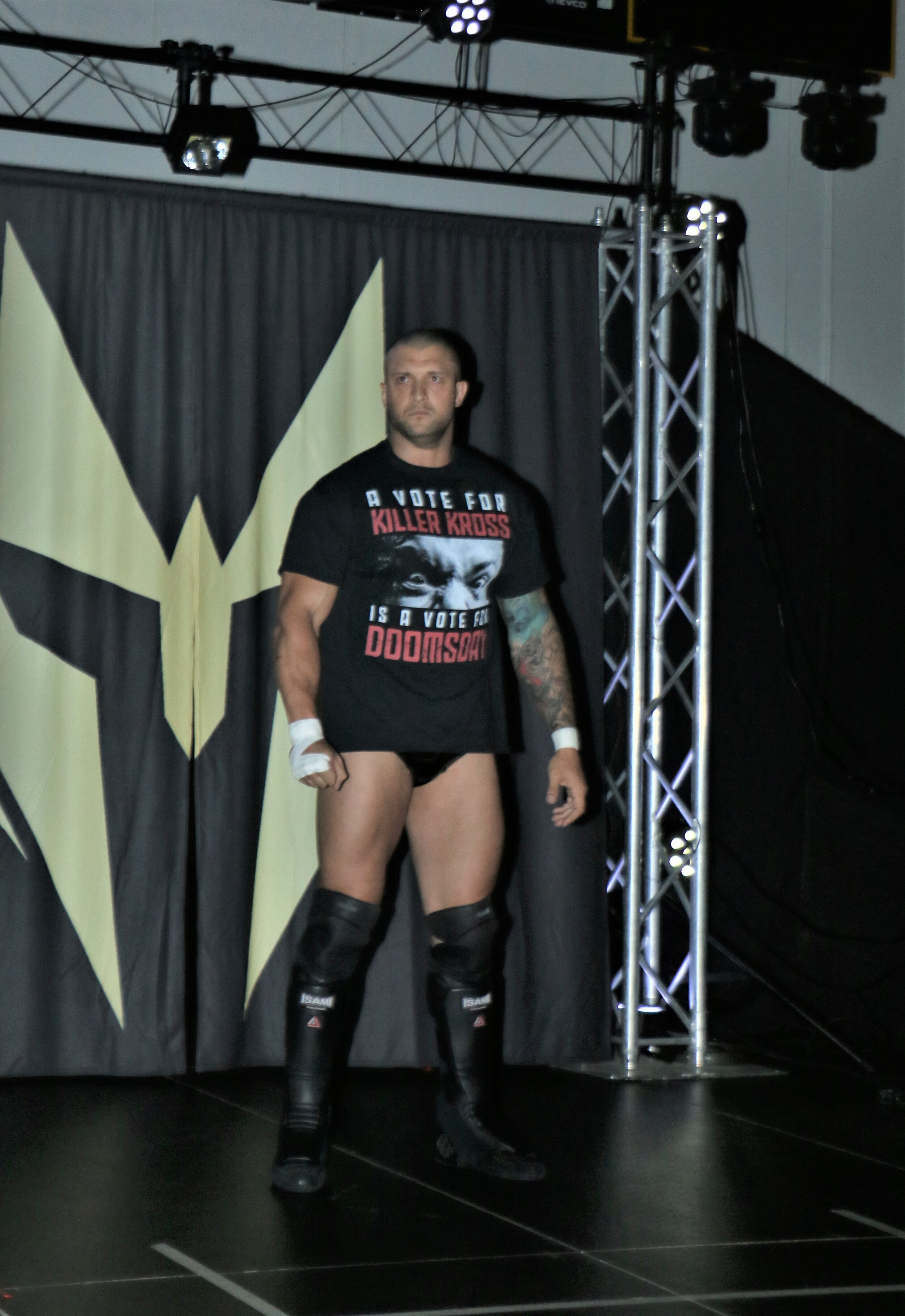 "Killer Kross enters the arena for his match against ""Filthy"" Tom Lawlor."
