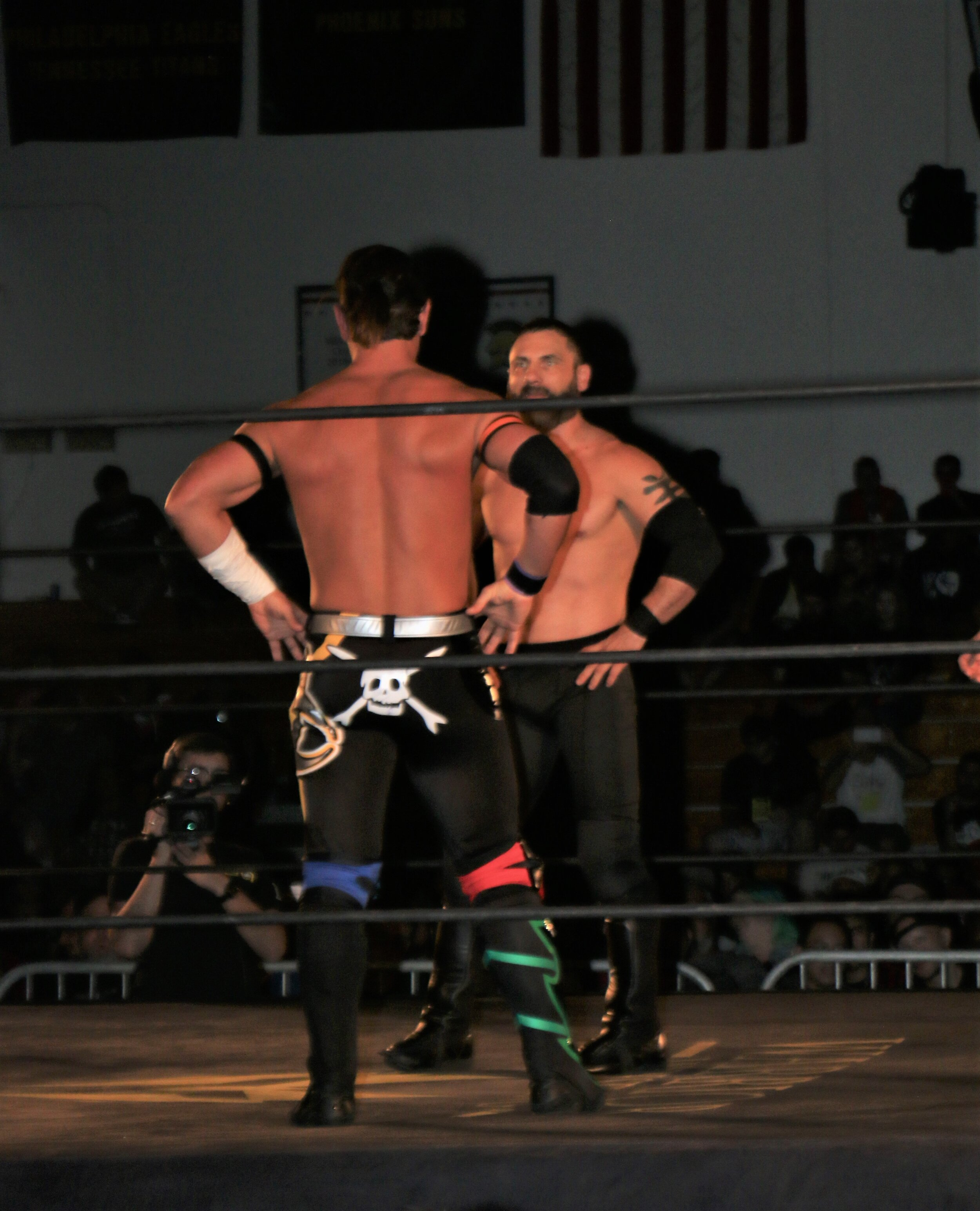 Alex Shelley, front, and Austin Aries get ready for a face off.