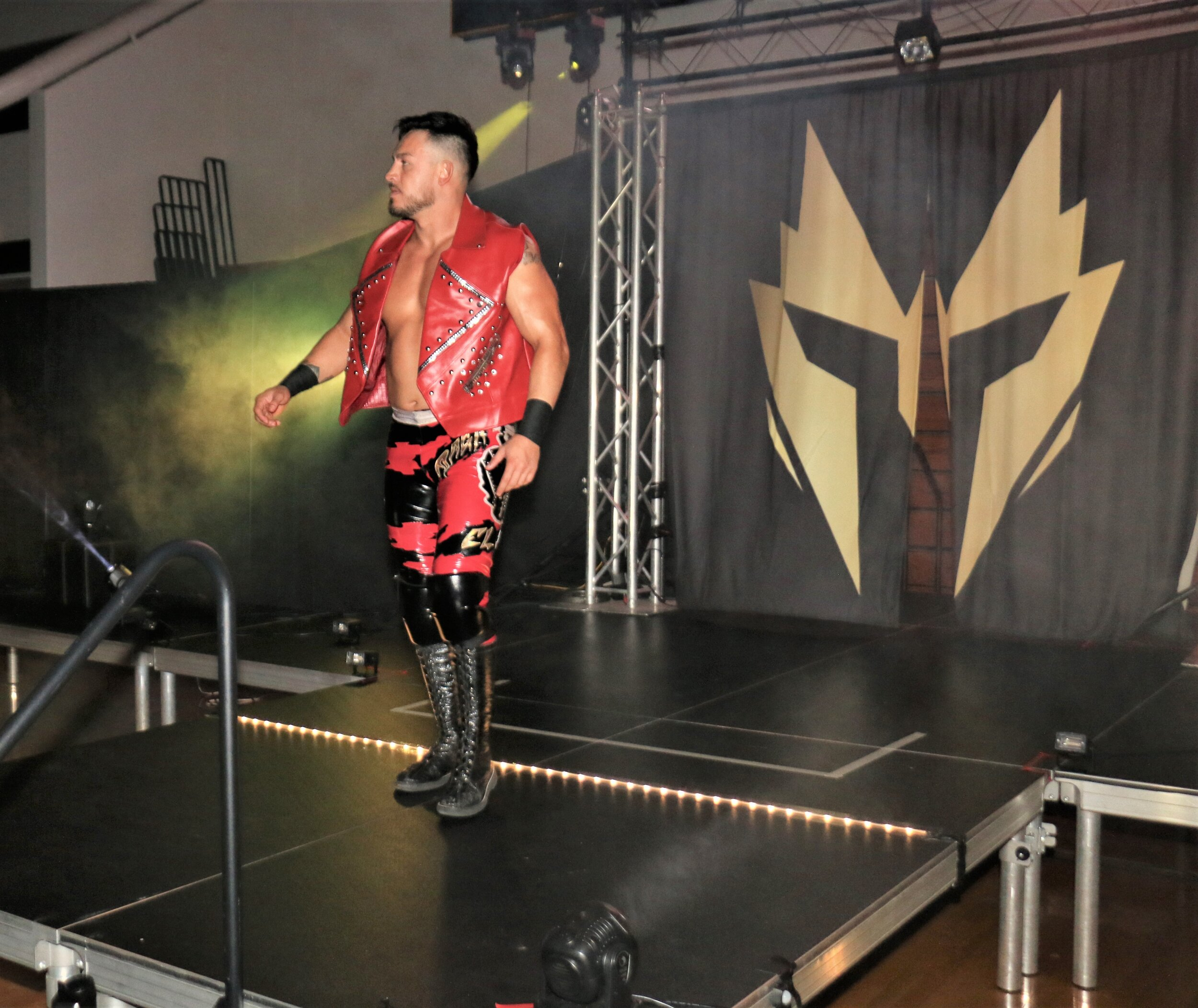 Daga enters the arena for the tag team match.
