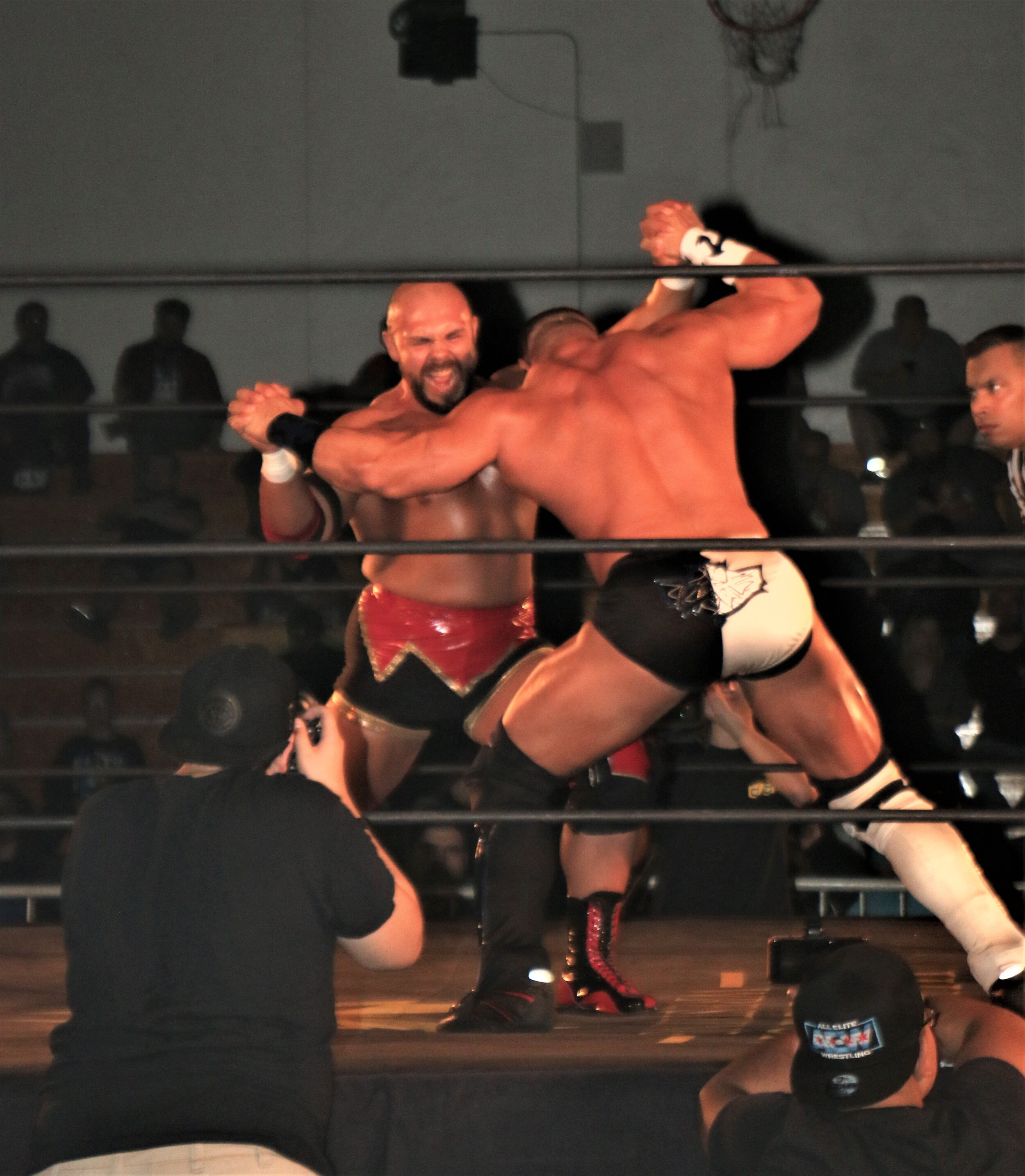 Michael Elgin, left, locks up with Brian Cage.