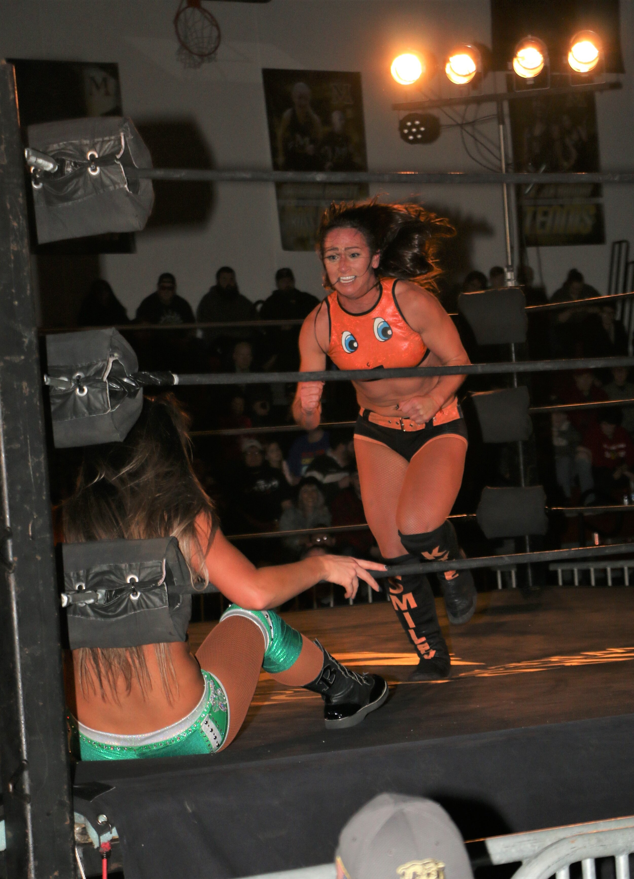 Kylie Rae charges toward Britt Baker at Warrior Wrestling 4 on March 15. Kylie returned to the ring after a three-month absence last weekend.  (Photo by Mike Pankow)