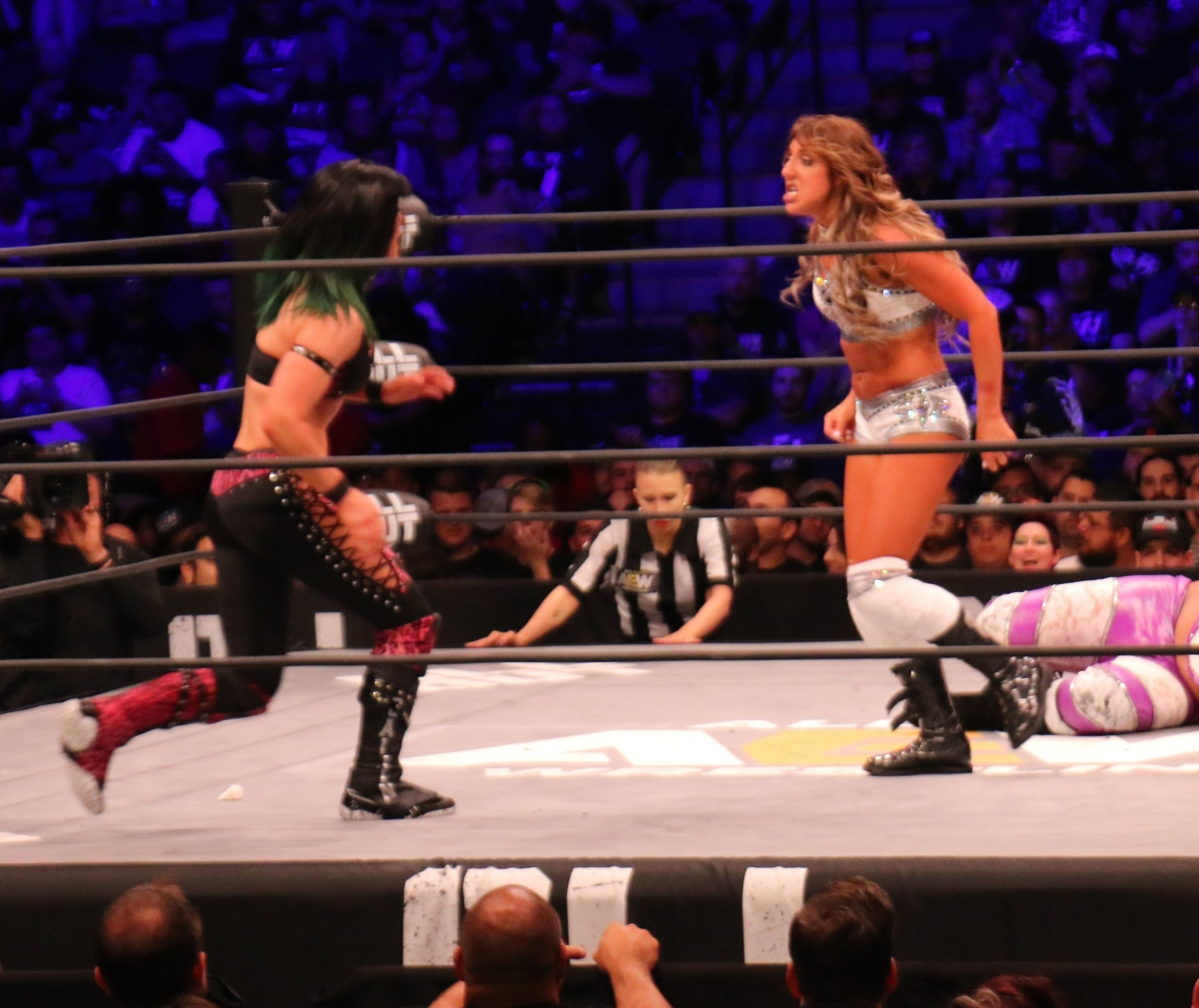 Britt Baker, right, faces off against Bea Priestley during the Casino Battle Royale at AEW's All Out on Saturday, Aug. 31 at Sears Centre in Hoffman Estates  (Photo by Mike Pankow)