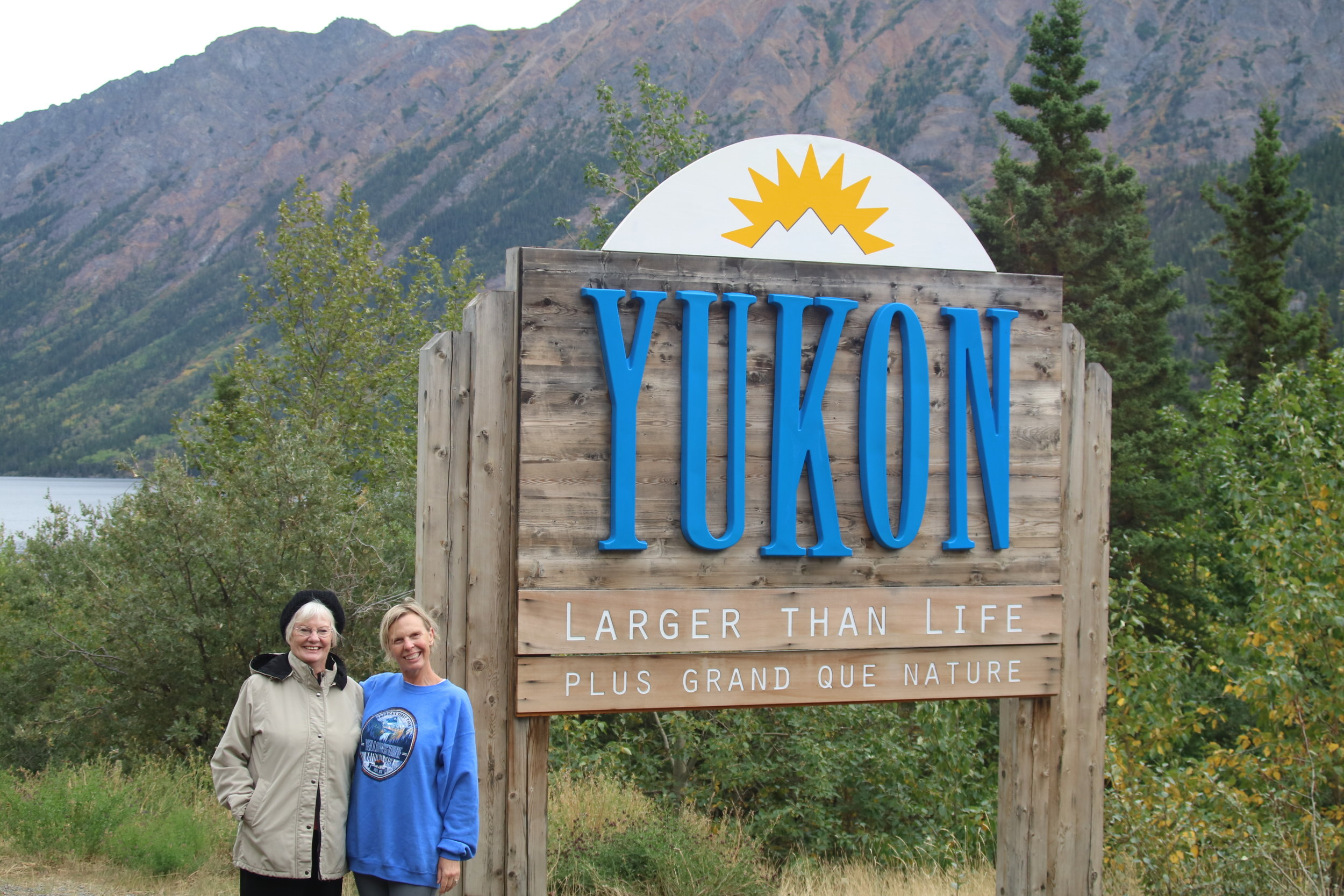 Mom and me in The Yukon Territory.  Photo credit: River, Tour Guide Extraodinaire