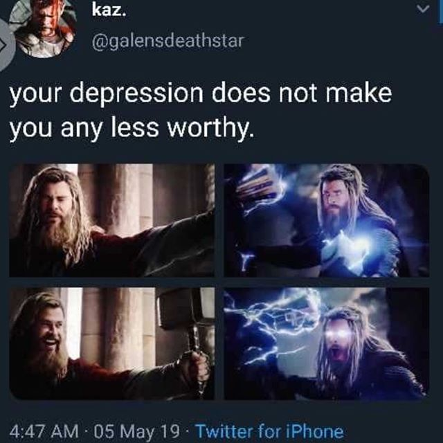 If you haven't seen #avengersendgame stroll on past. . . . . I had to share this, especially during #mentalhealthawarenessmonth. I personally suffer from anxiety and depression and I often feel like I'm not worthy of anything. I really struggle with perfectionism and again I often just feel awful about myself. Thor's journey in #Avengersendgame made me feel a little less awful. He got knocked down by life really hard- and he was struggling. He felt like he wasn't worthy anymore- but he was. Just because you struggle with mental health doesn't make you less worthy. You're still awesome and you too- can still wield the hammer 💜 . . . . . . #themightybumblebee #encouragement #mentalhealthcare #newblog #academicinfluencer #nashvilleacademic #nashvilleblogger #blackgirlblogger #teamtypingfast #blackgirlmentalhealth #blackgirlacademic #mentalhealthawarenessmonth