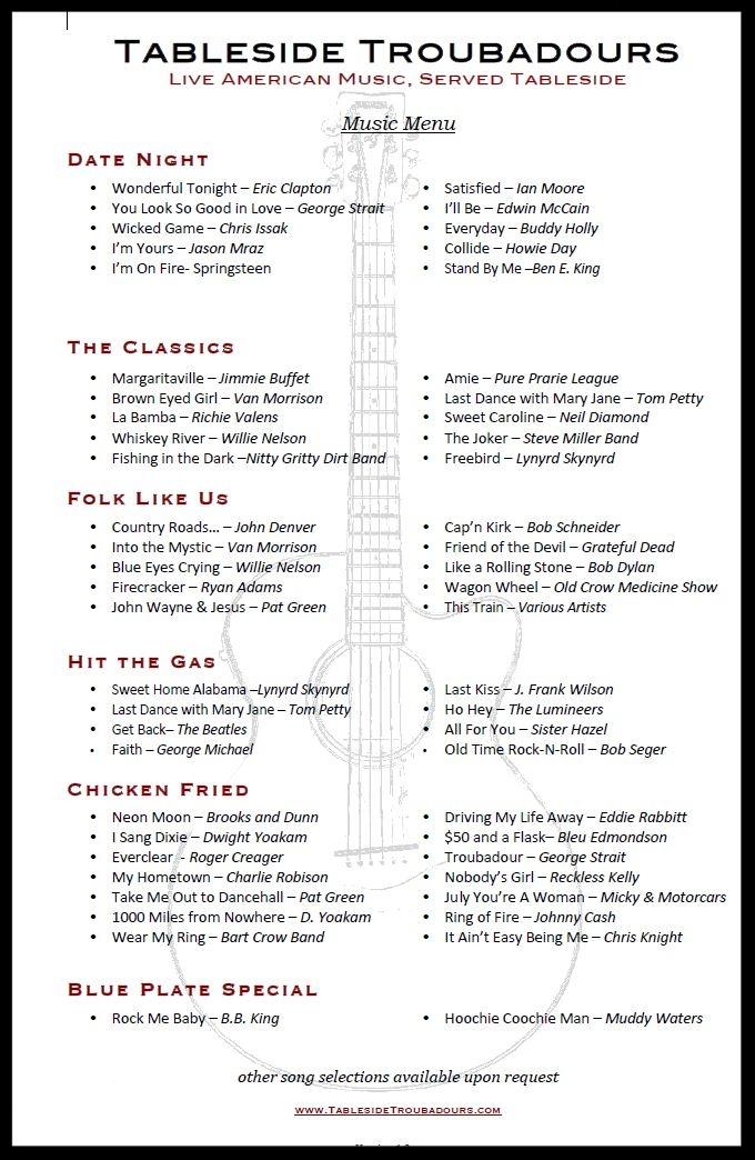 Back of Tableside Troubadours music menu