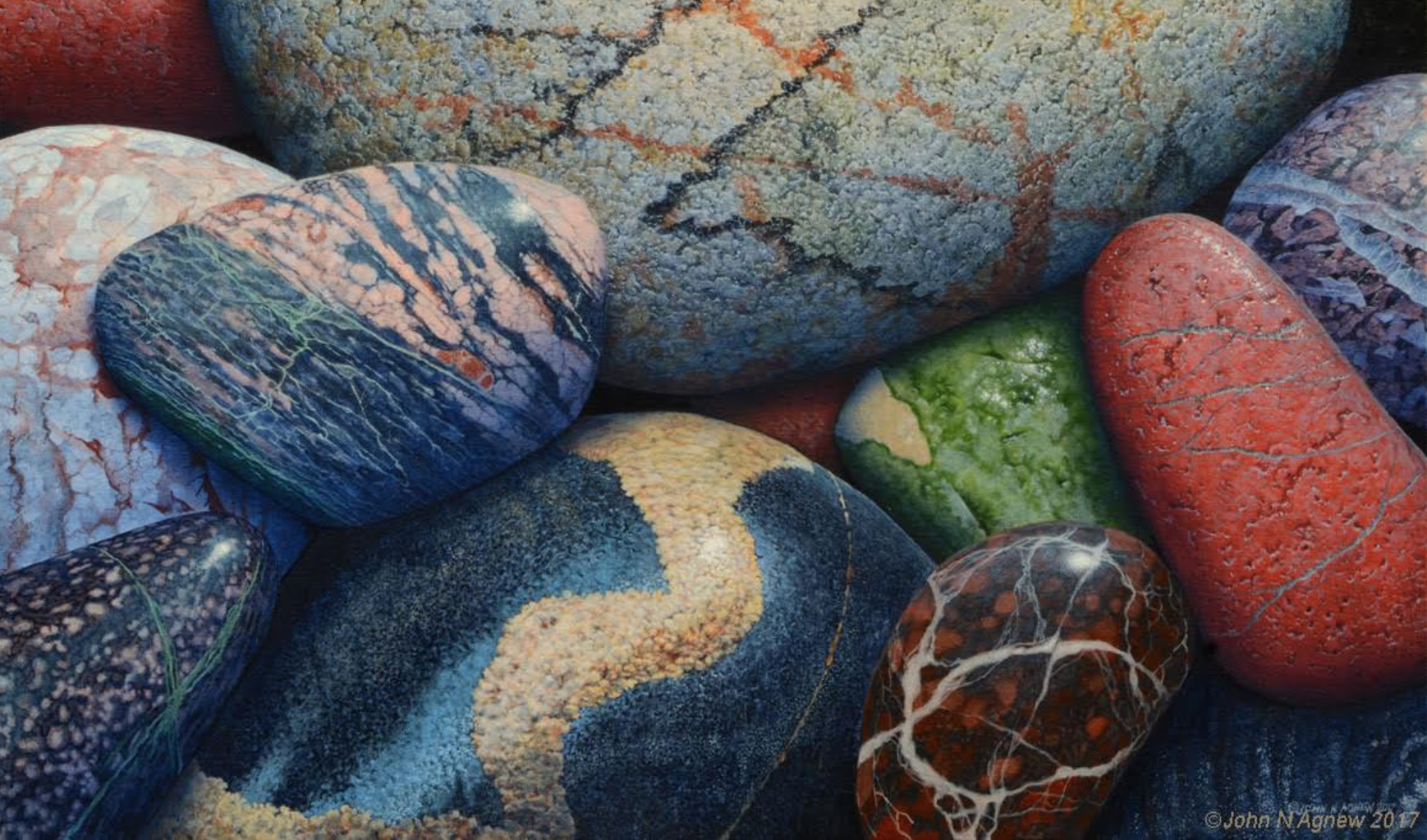 JOHN H. AGNEW, BARB'S NEW STONES #2  ACRYLIC ON CANVAS, 18 IN. X 30 IN.