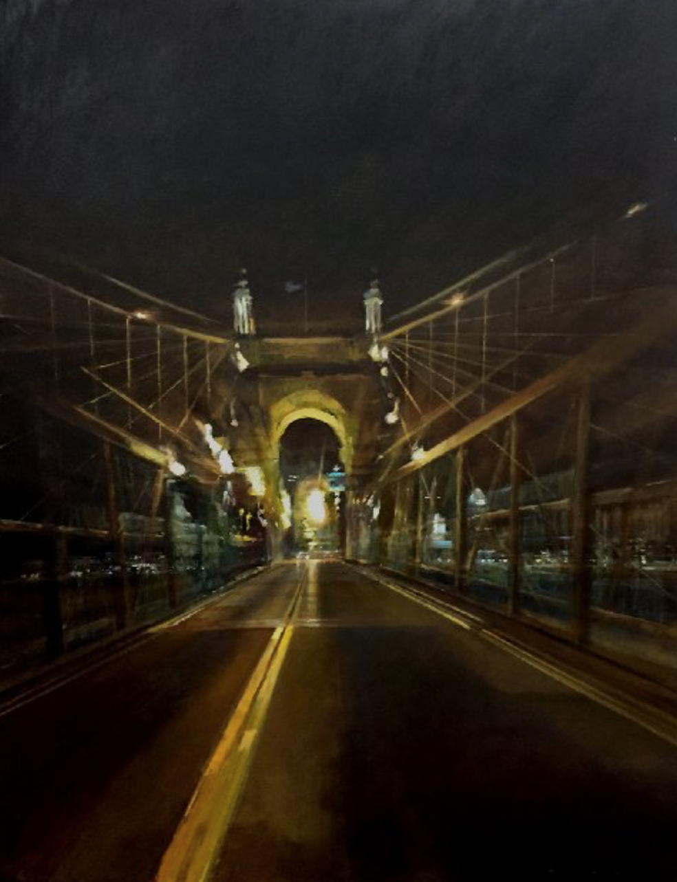 STEPHEN BACH, Roebling Bridge  Oil on Canvas, 41 in. x 27 in.