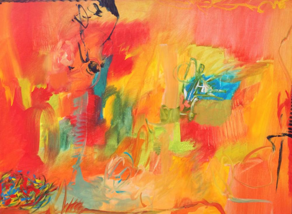 LAMAR BRIGGS, Blue Pond  Acrylic on Canvas 36in. x 48 in.