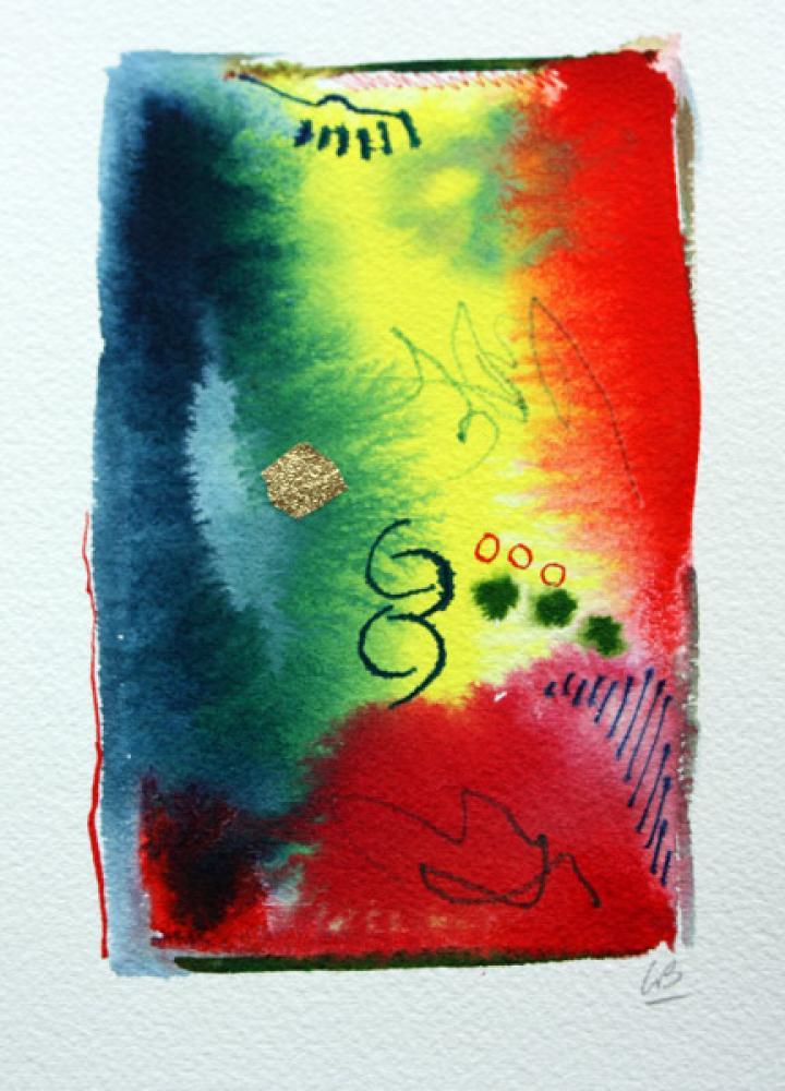 Lamar Briggs, Celebrate #2605  Watercolor, 7x5 in.