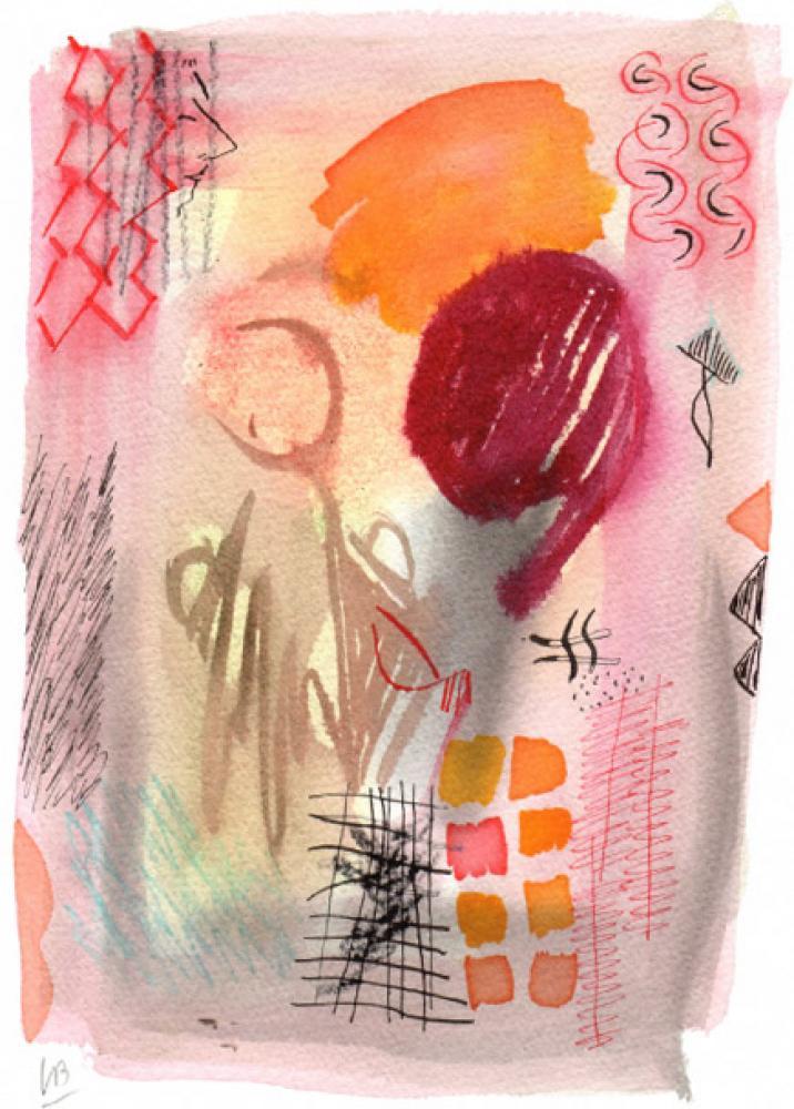 Lamar Briggs, Dream Walk Series No. 3  Watercolor, 10x7 in.