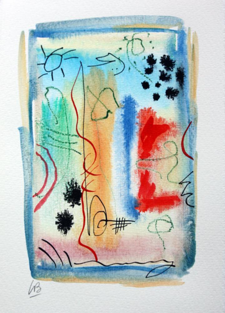 Lamar Briggs, Celebrate #2603  Watercolor, 7in. x 5 in.