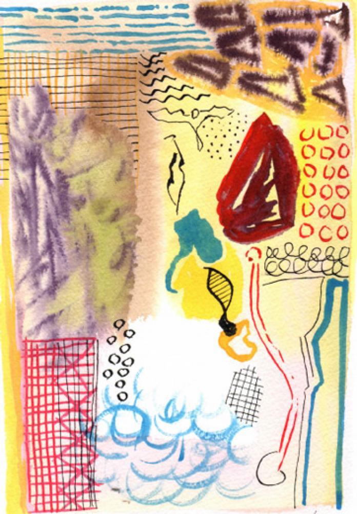 Lamar Briggs, Dream Walk Series No. 1  Watercolor, 10in. x 7 in.