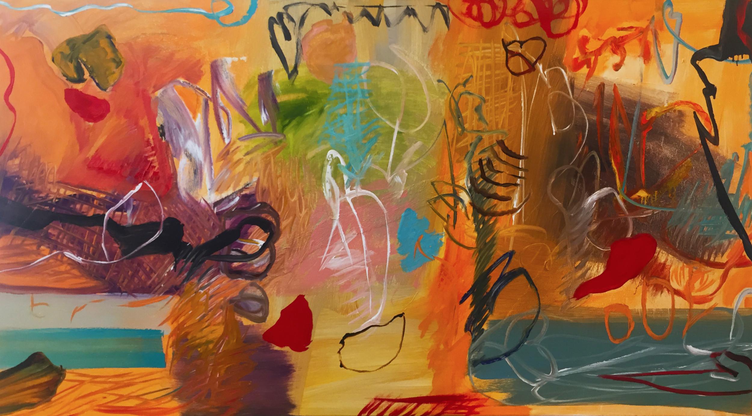 Lamar Briggs, Barcelona No. 2  Mixed Media on Canvas, 40x72 in.