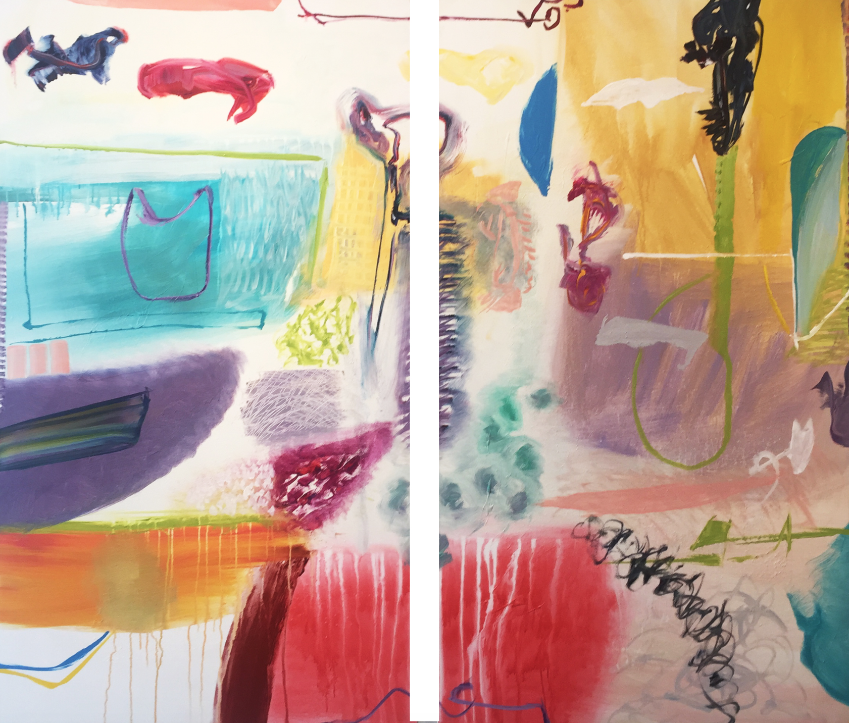 Lamar Briggs, Coco and Blue Moon (Diptych)  Mixed Media on Canvas, 66x76 in.