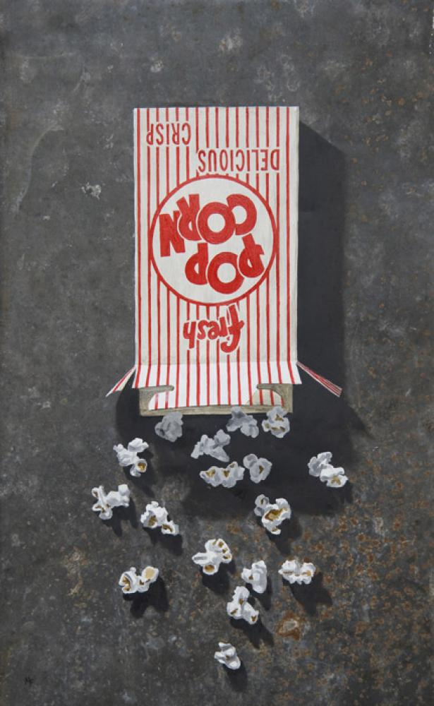 Michael Fitts, Popcorn Box  Oil on Tin , 21 in. x 13 in.
