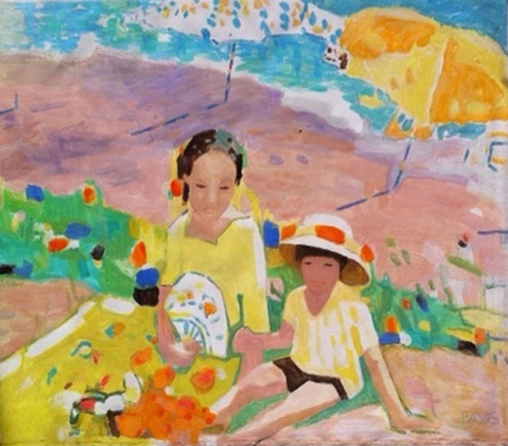 Pang Jen, Mother & Child on Beach  Oil on Canvas 40x48 in.