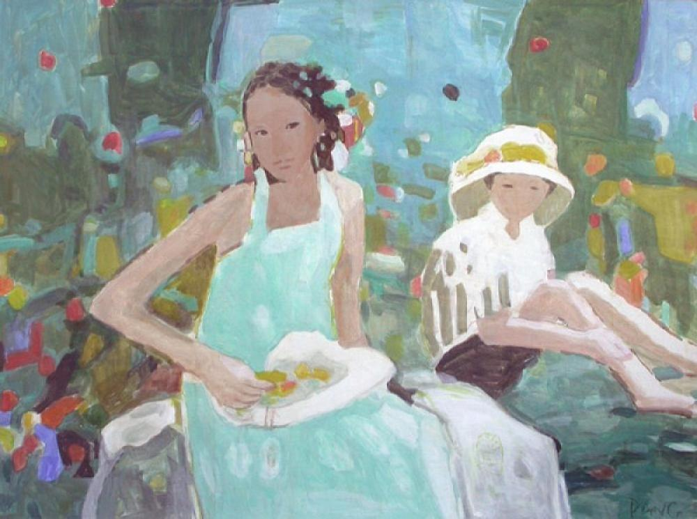 Pang Jen Mother & Child, Green Garden  Oil on Canvas 36x48 in.