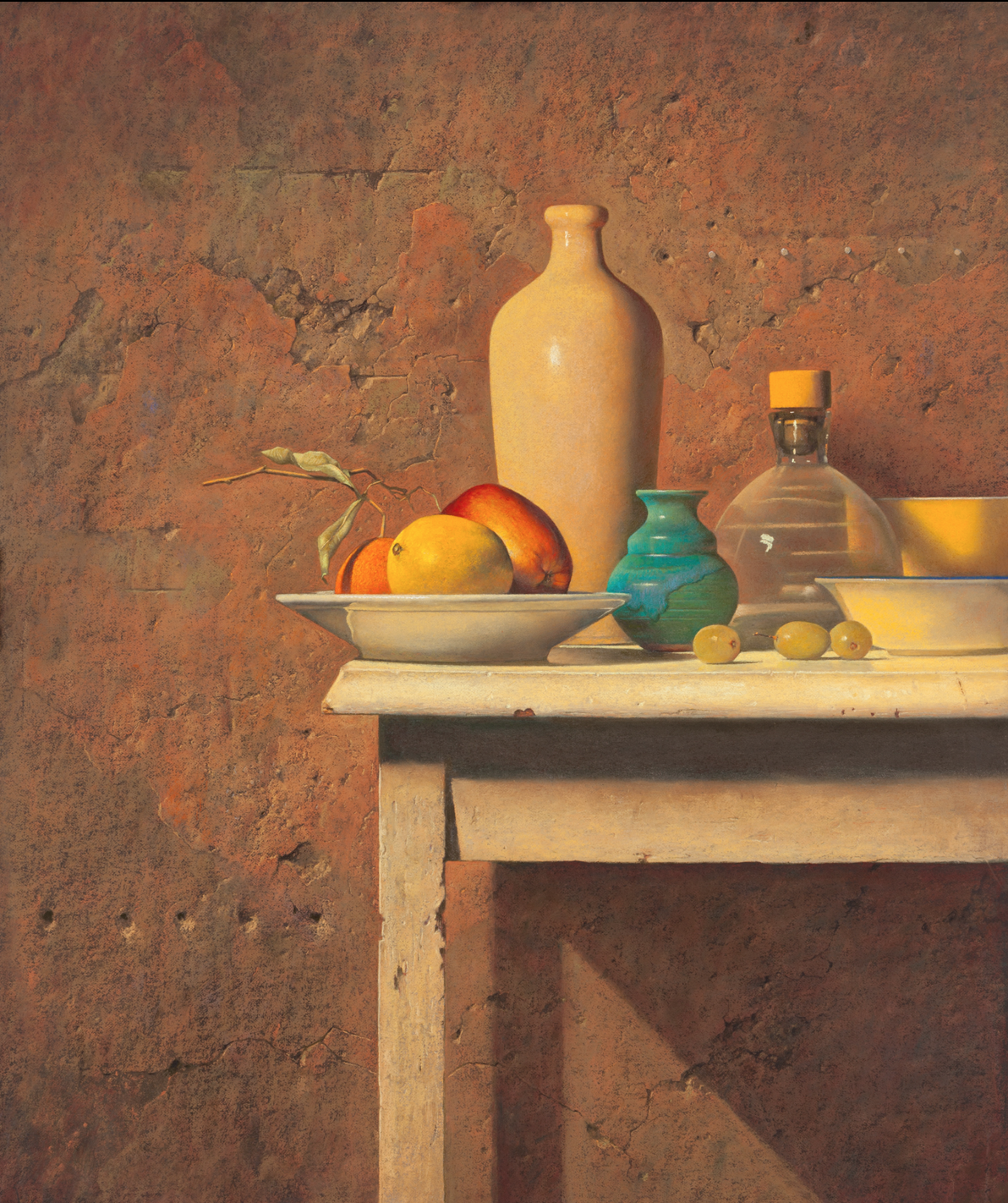 Ron Monsma, Blue and Yellow Vase on a White Table  Pastel, 24x20 in.