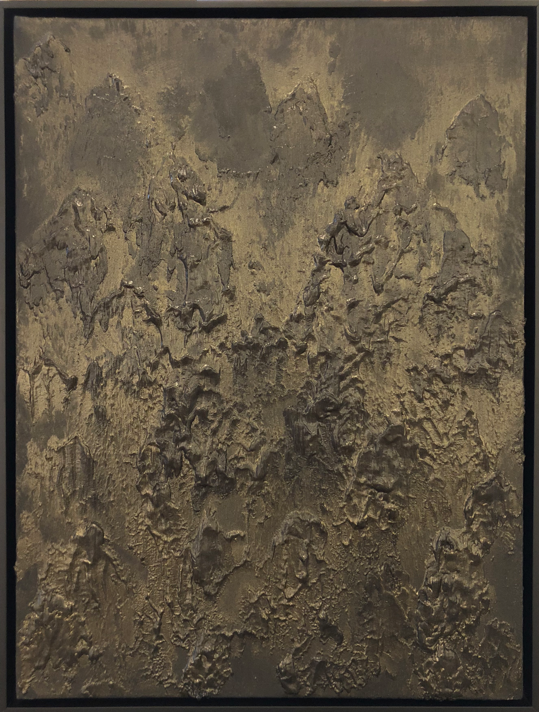 Matthew C. Metzger, American Darkness II  Oil, Iron, Bronze on Canvas, 25x19 in.