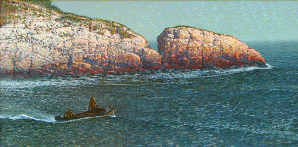 James O'Neil, Building Swells  Acrylic on Panel, 12x24 in.