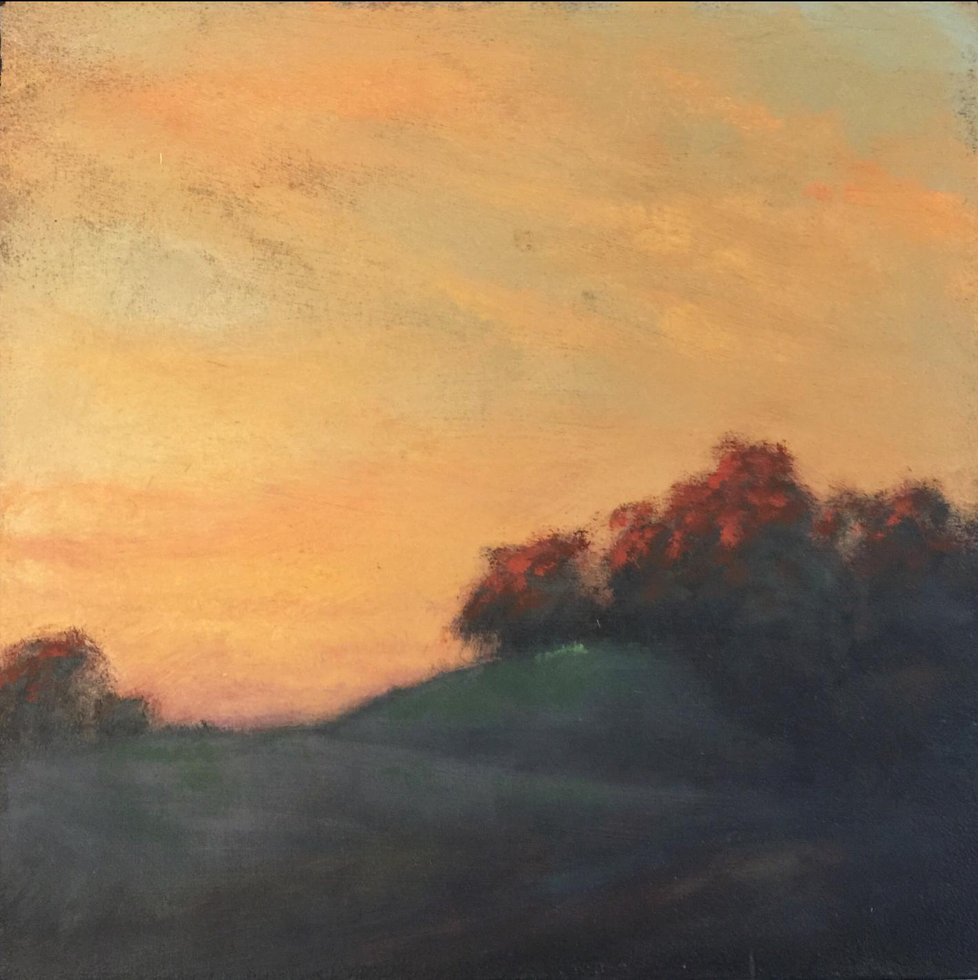 MICHAEL ORWICK, Last Light  Oil on Wood, 10in x10 in.